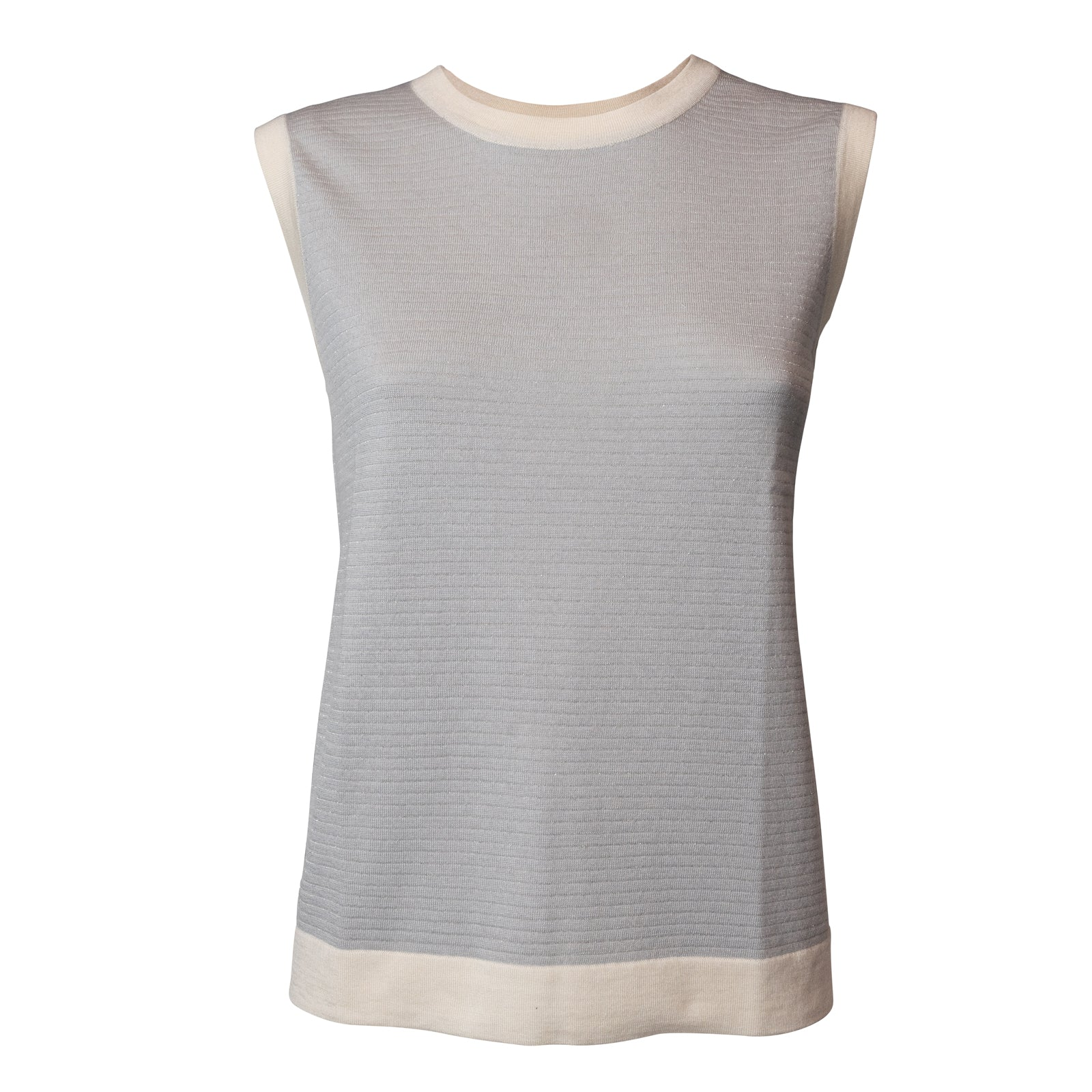 Women's Silk Top In Ice With Lurex
