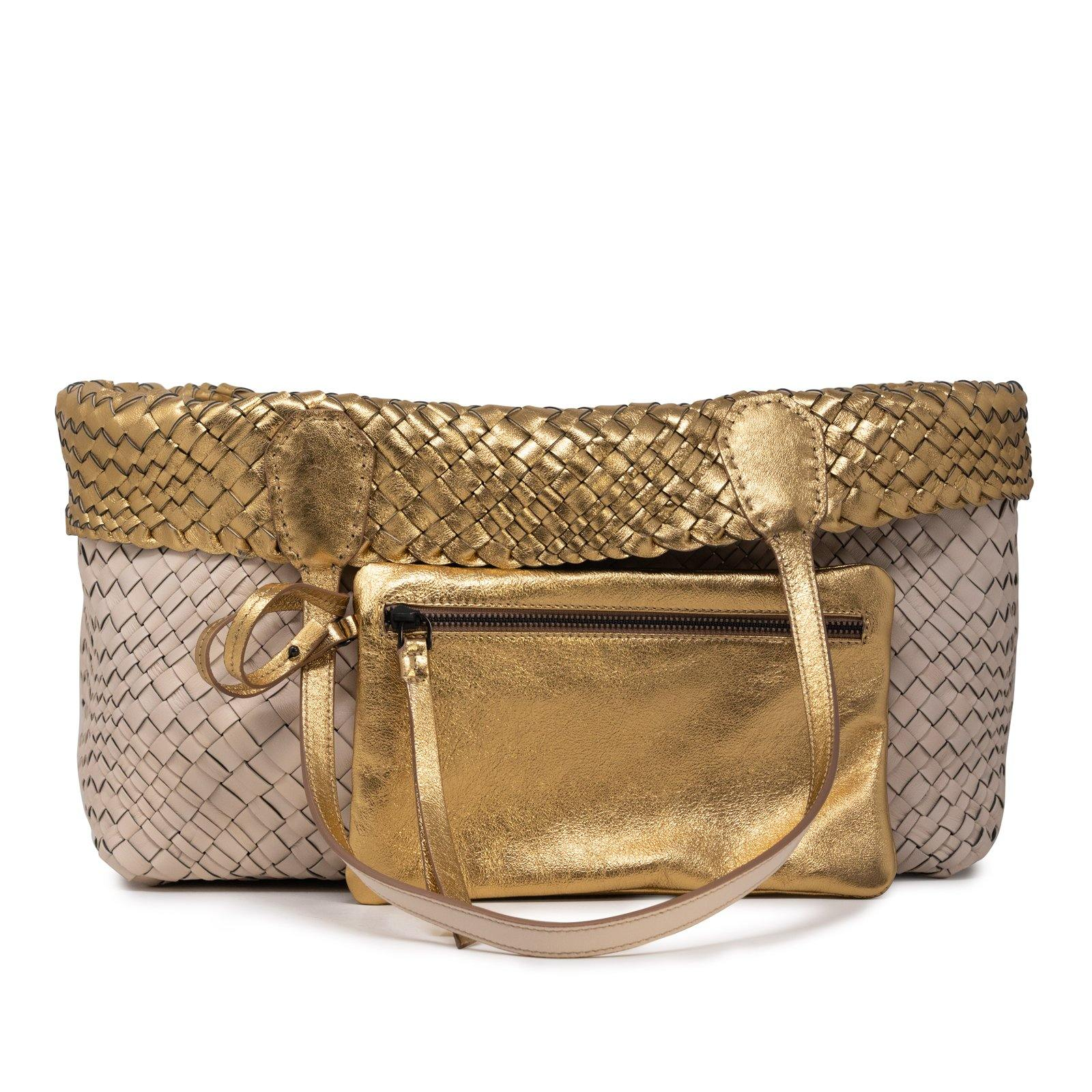 Women Leather Intreccio Optical Reversible Bag in Sabbia and Gold