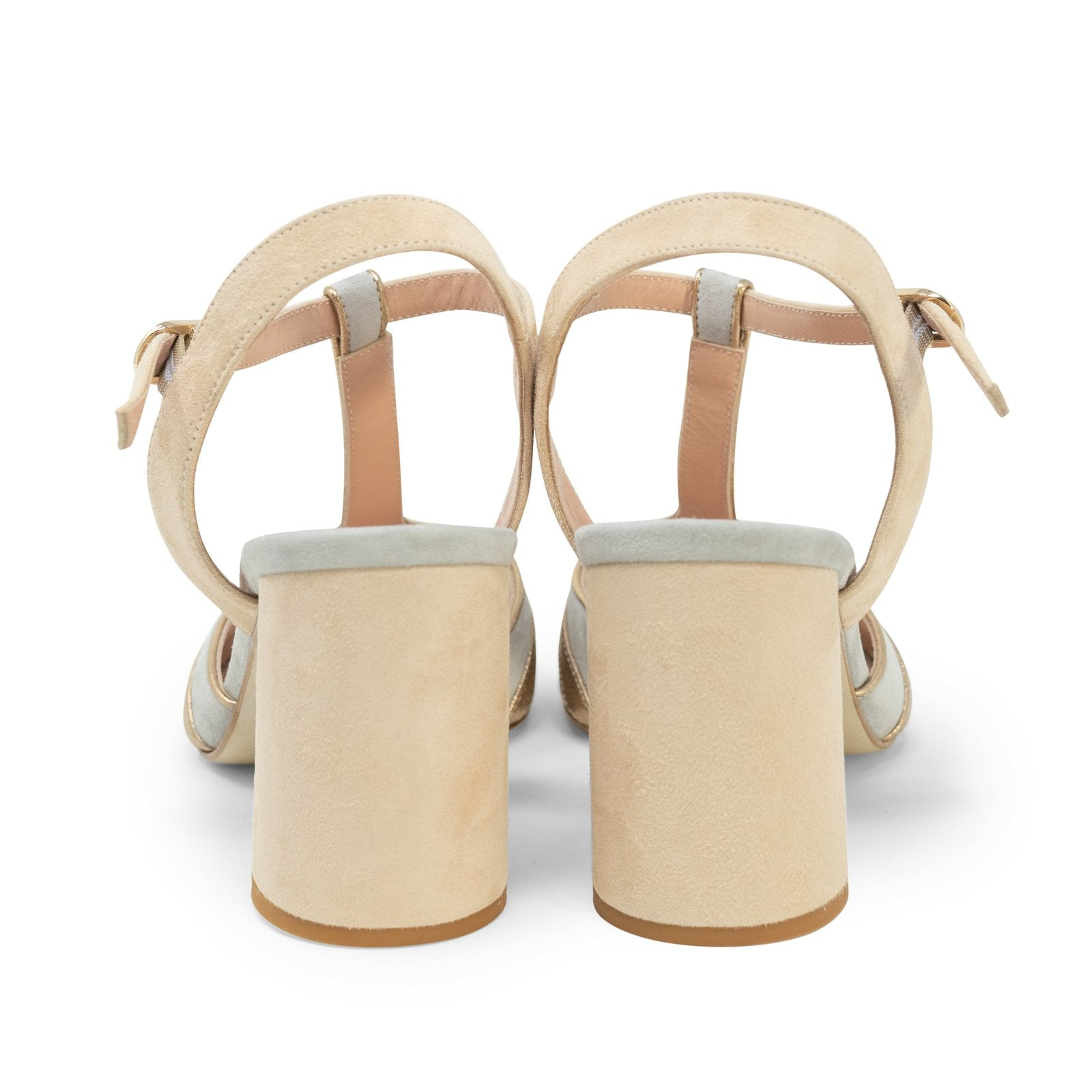 Women High Heel Block Sandals in Sabbia - Jennifer Tattanelli