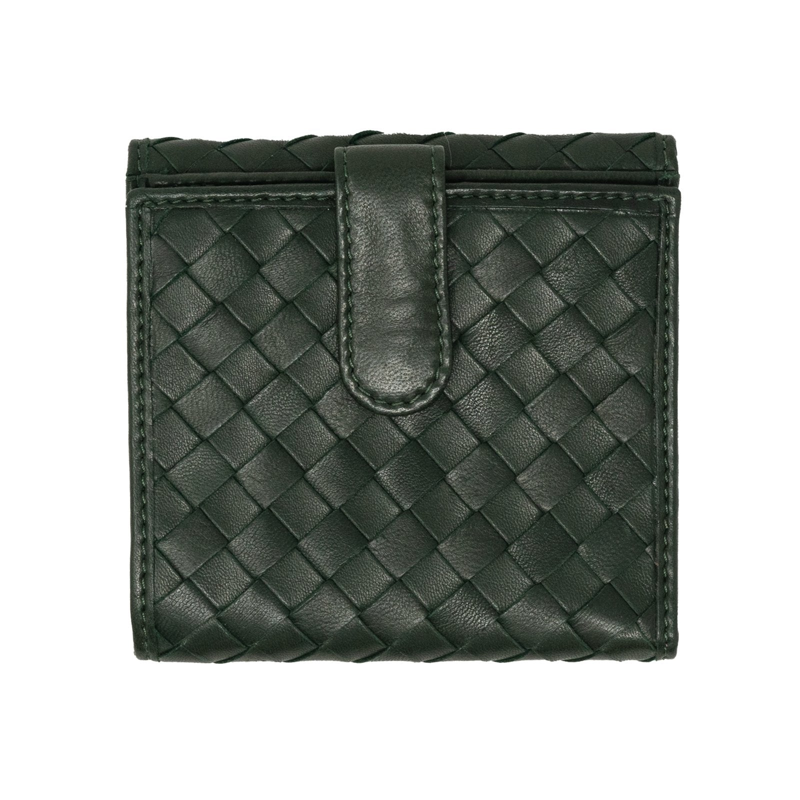 Women Intrecciato Leather Wallet in Dark Green - Jennifer Tattanelli