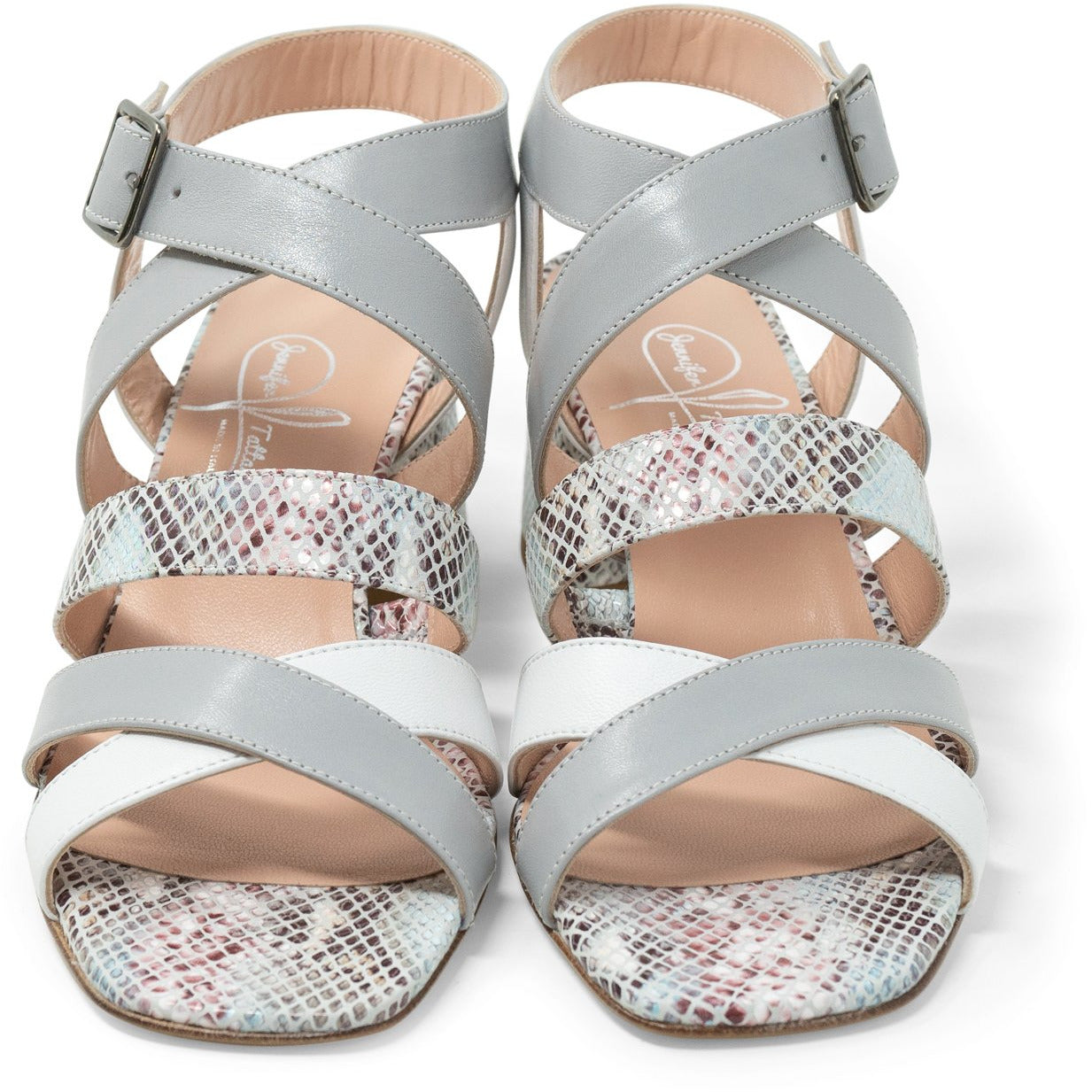 Women Python Leather Sandals in Pearl Grey - Jennifer Tattanelli