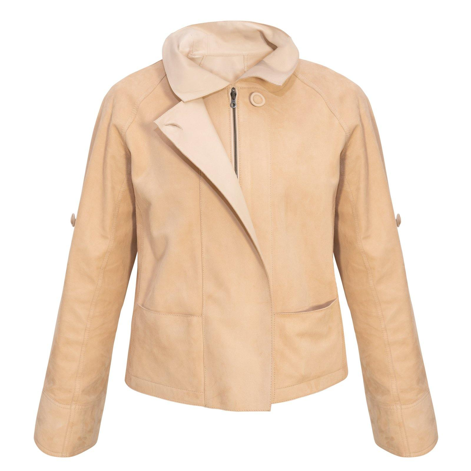 Audrey Reversible Pieno Fiore Leather Jacket in Nude