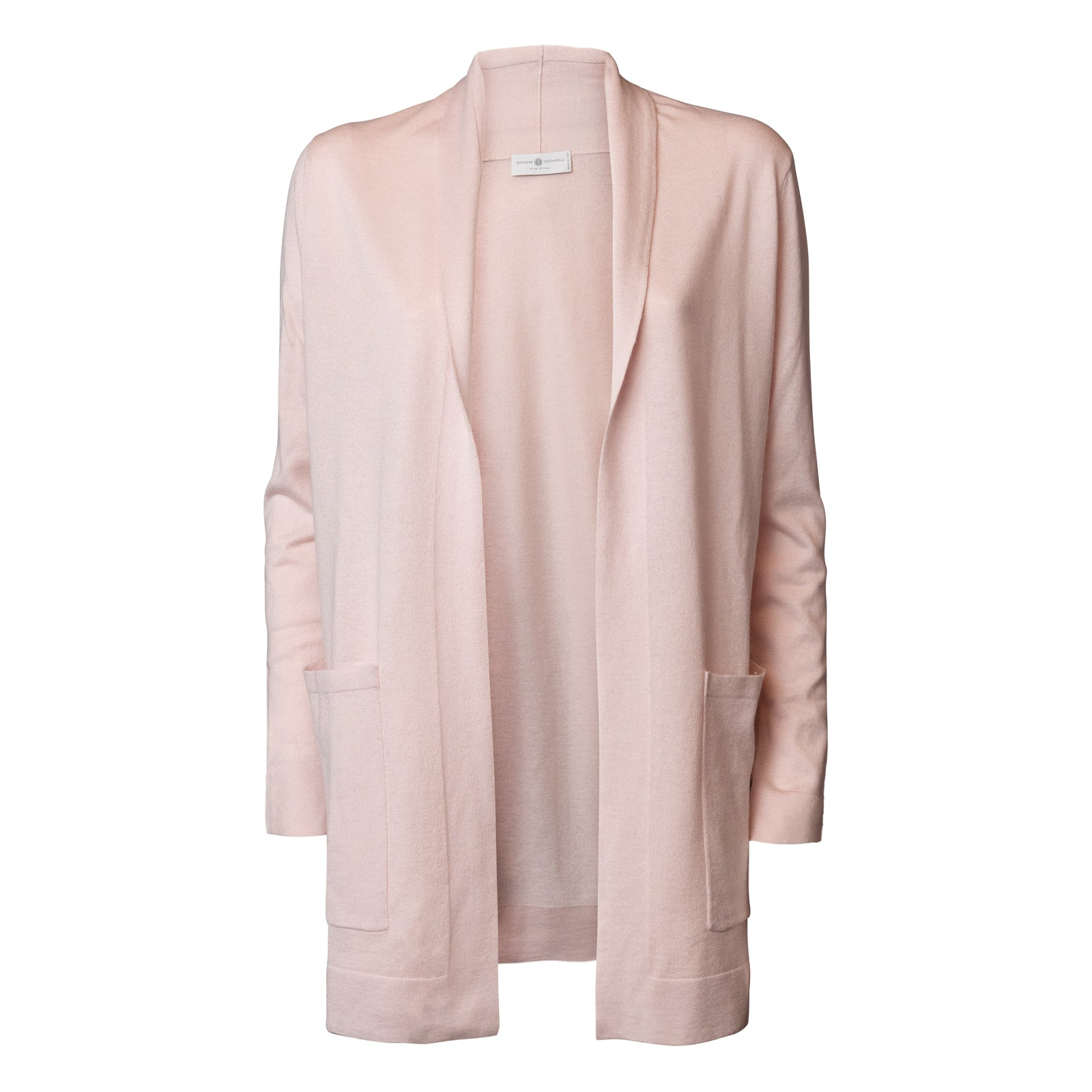Women Long Buttonless Silk Cardigan  in Pink