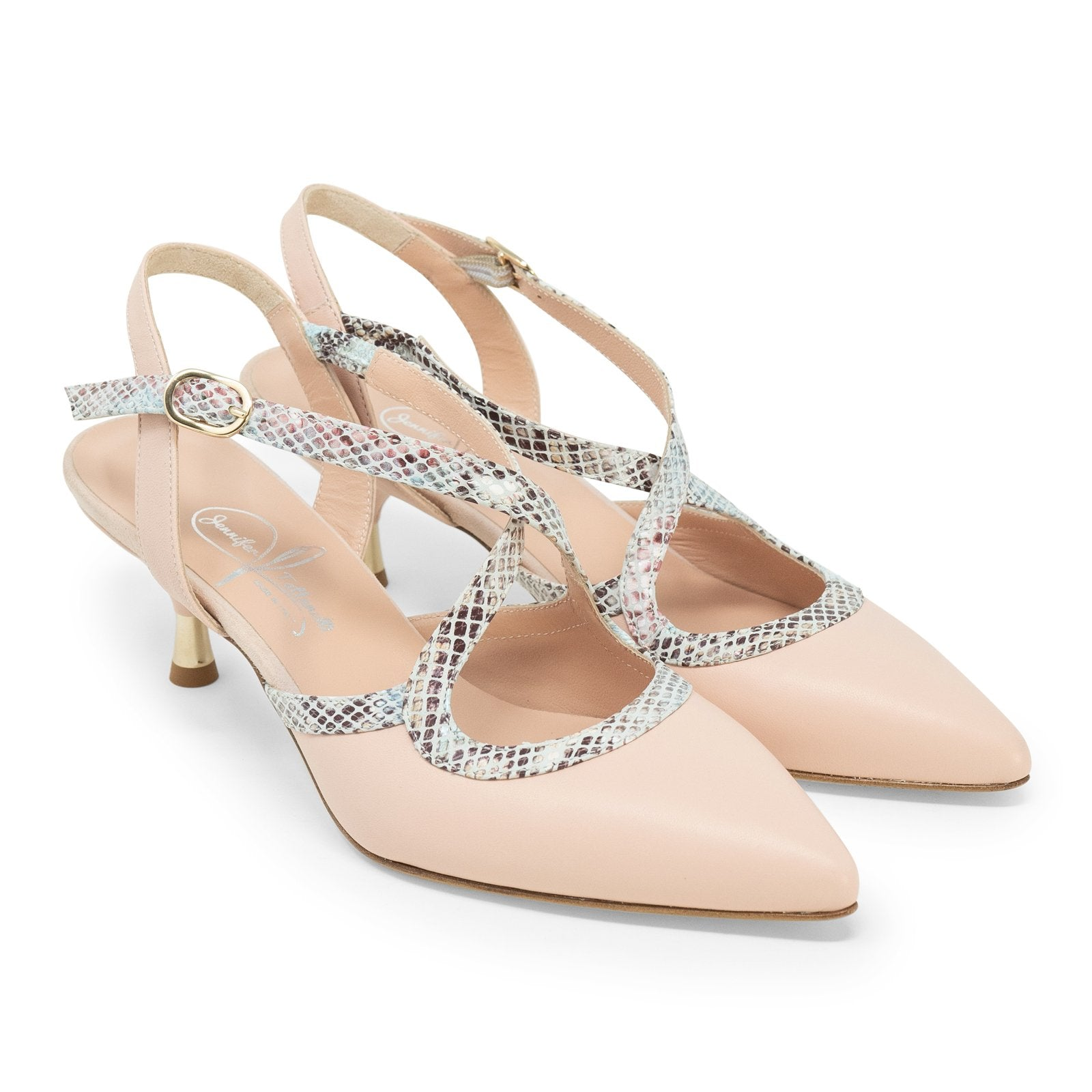 Women's Pointed-Toe Snake Backsling Pumps in Nude
