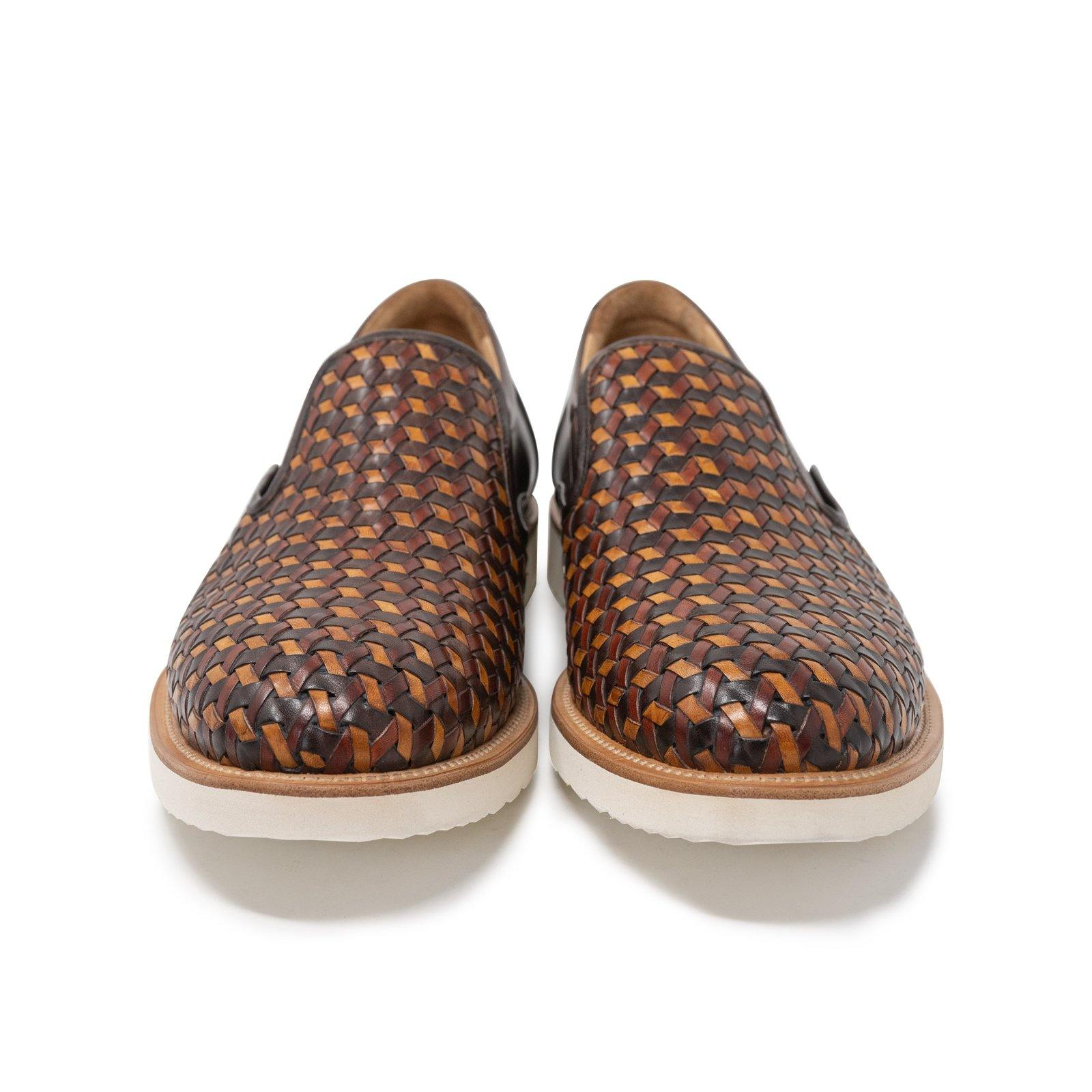 Men Slip On Leather Shoes in Cuoio and Brown