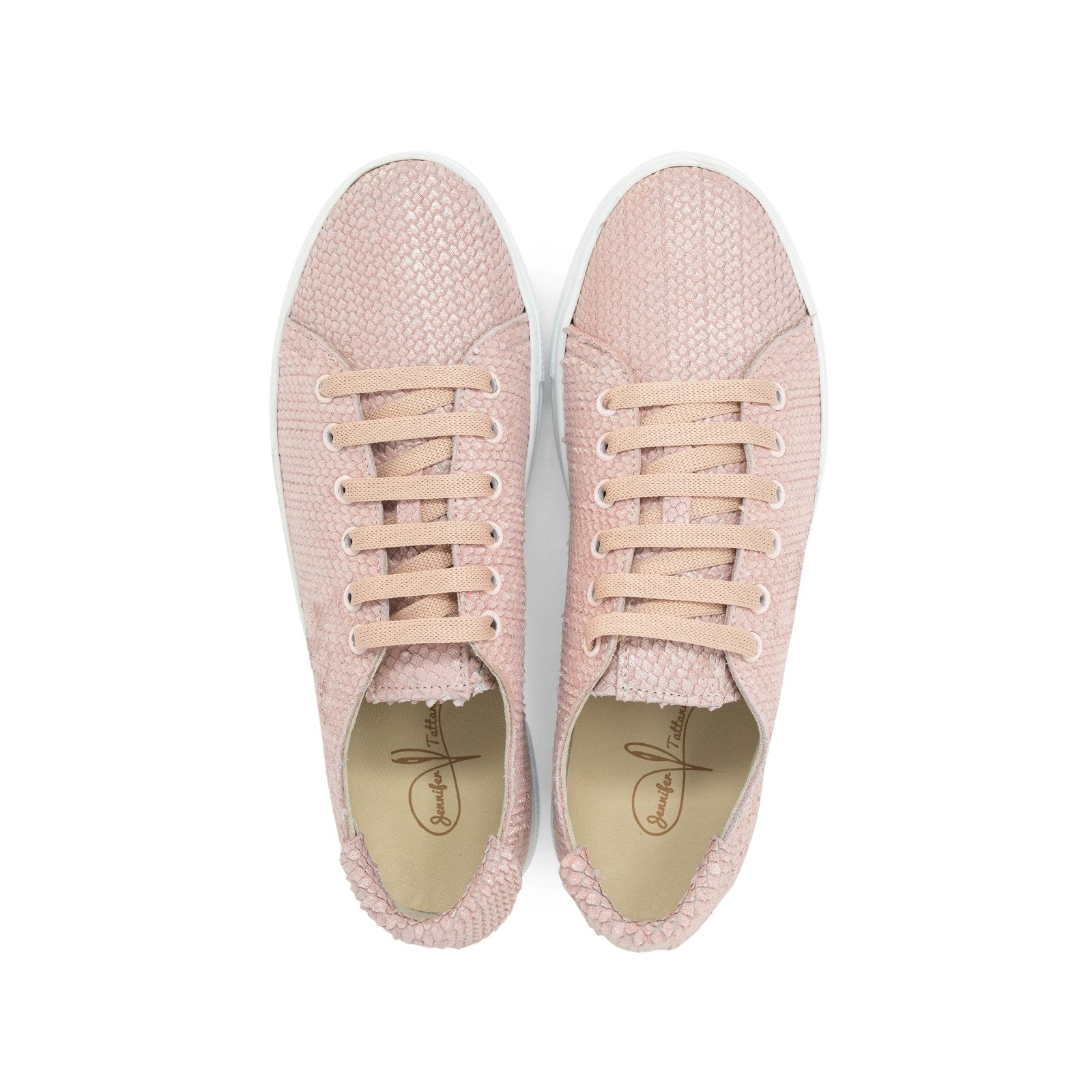 Women Python Print Leather Sneakers in Dust Rose - Jennifer Tattanelli