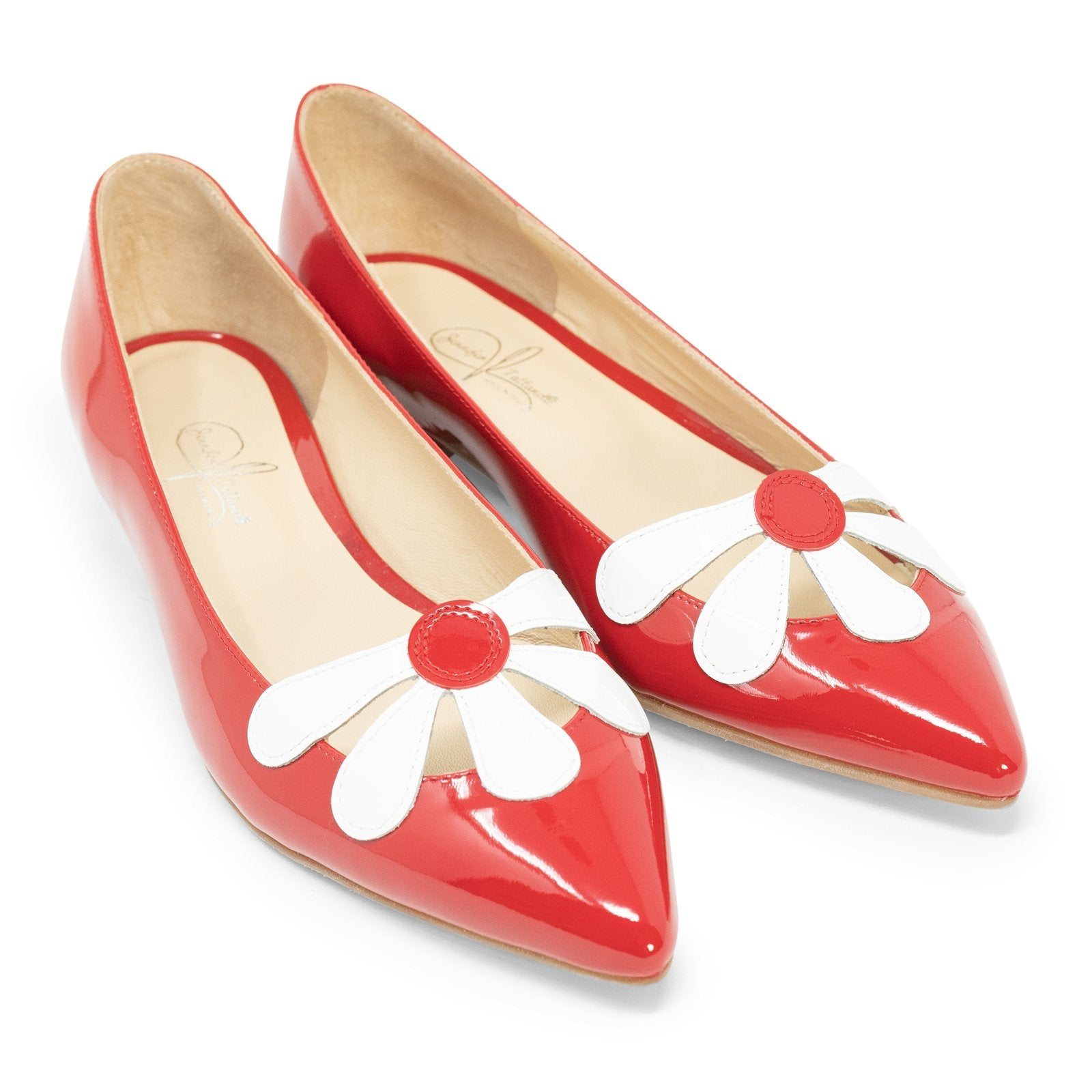 Women Pointed Ballet Flats With Flower in Red - Jennifer Tattanelli