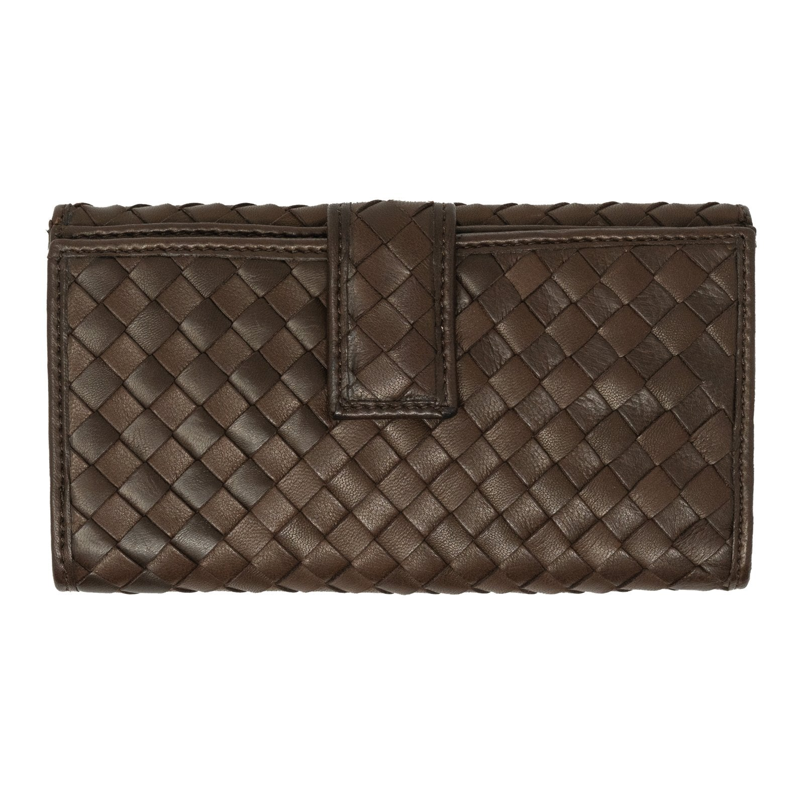 Women Intrecciato Leather Wallet in Dark Brown - Jennifer Tattanelli