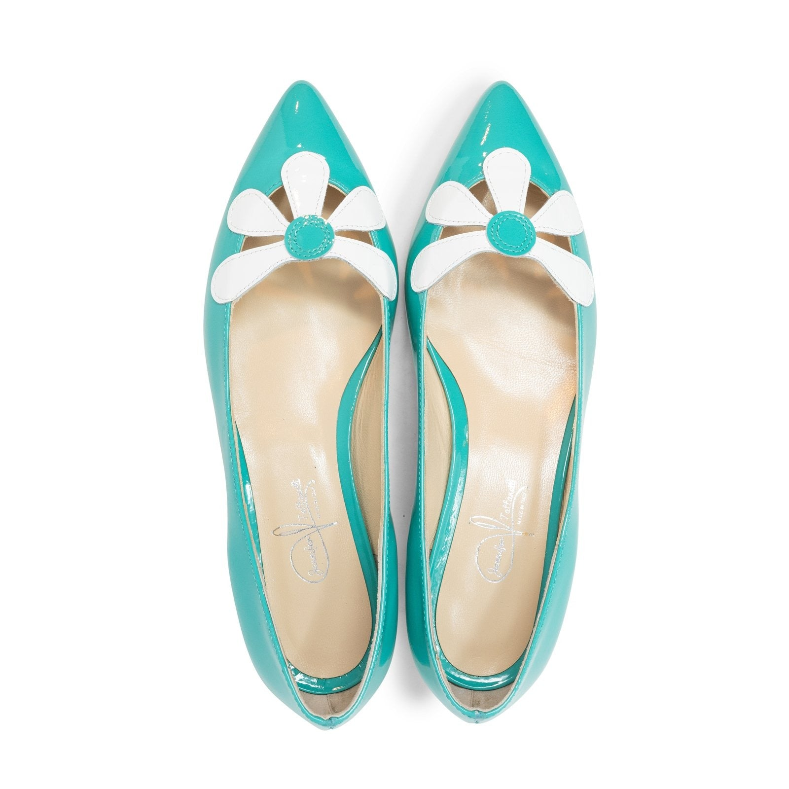Women Pointed Ballet Flats with Flower in Smeraldo - Jennifer Tattanelli