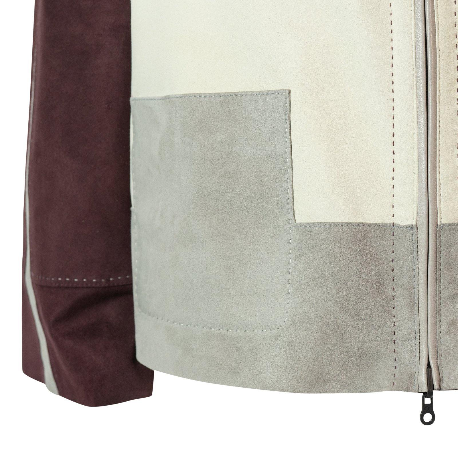 HEPBURN Reversible Leather Jacket in Bordeaux, Ivory and Taupe