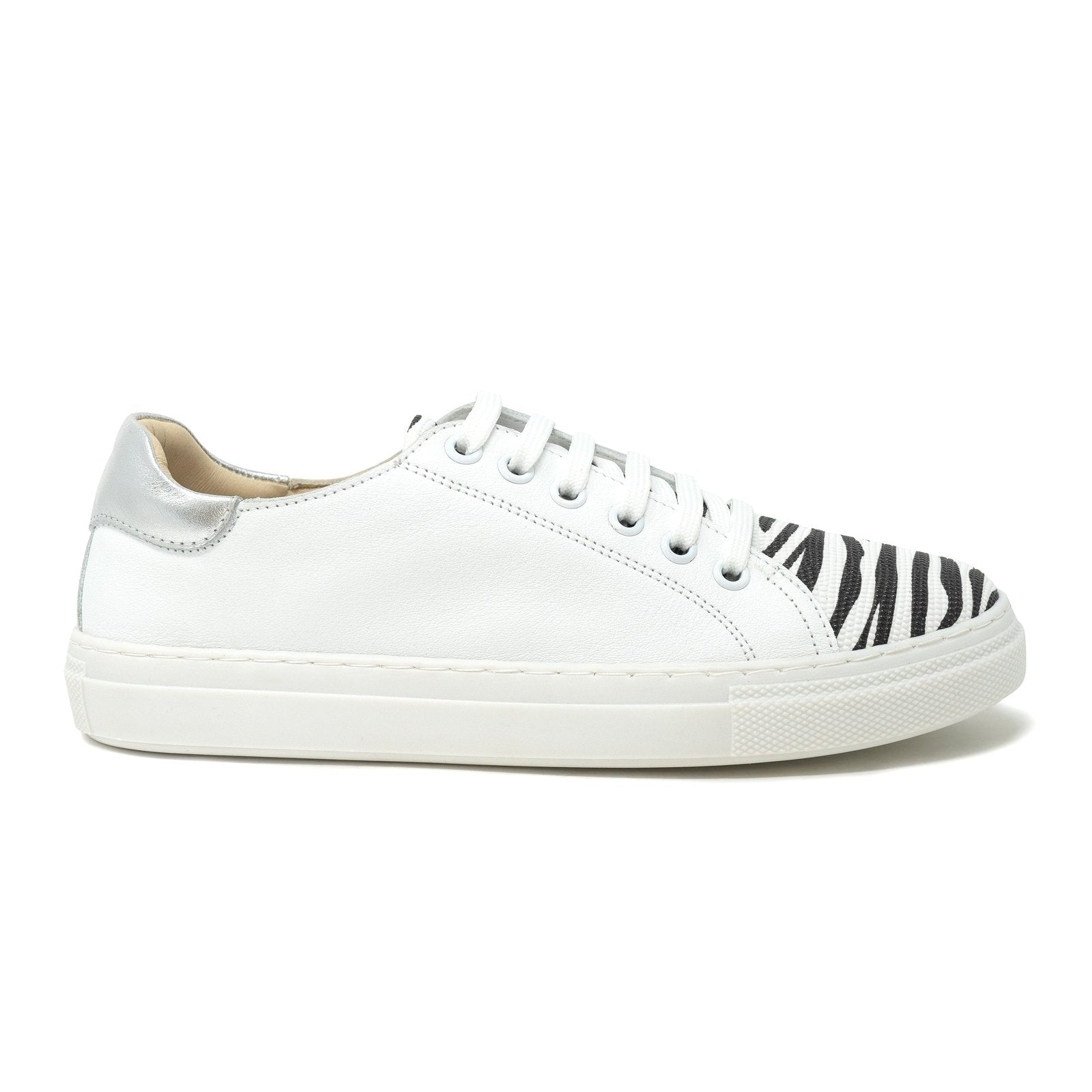Women Zebra-Print Memory Foam Sneakers in White - Jennifer Tattanelli