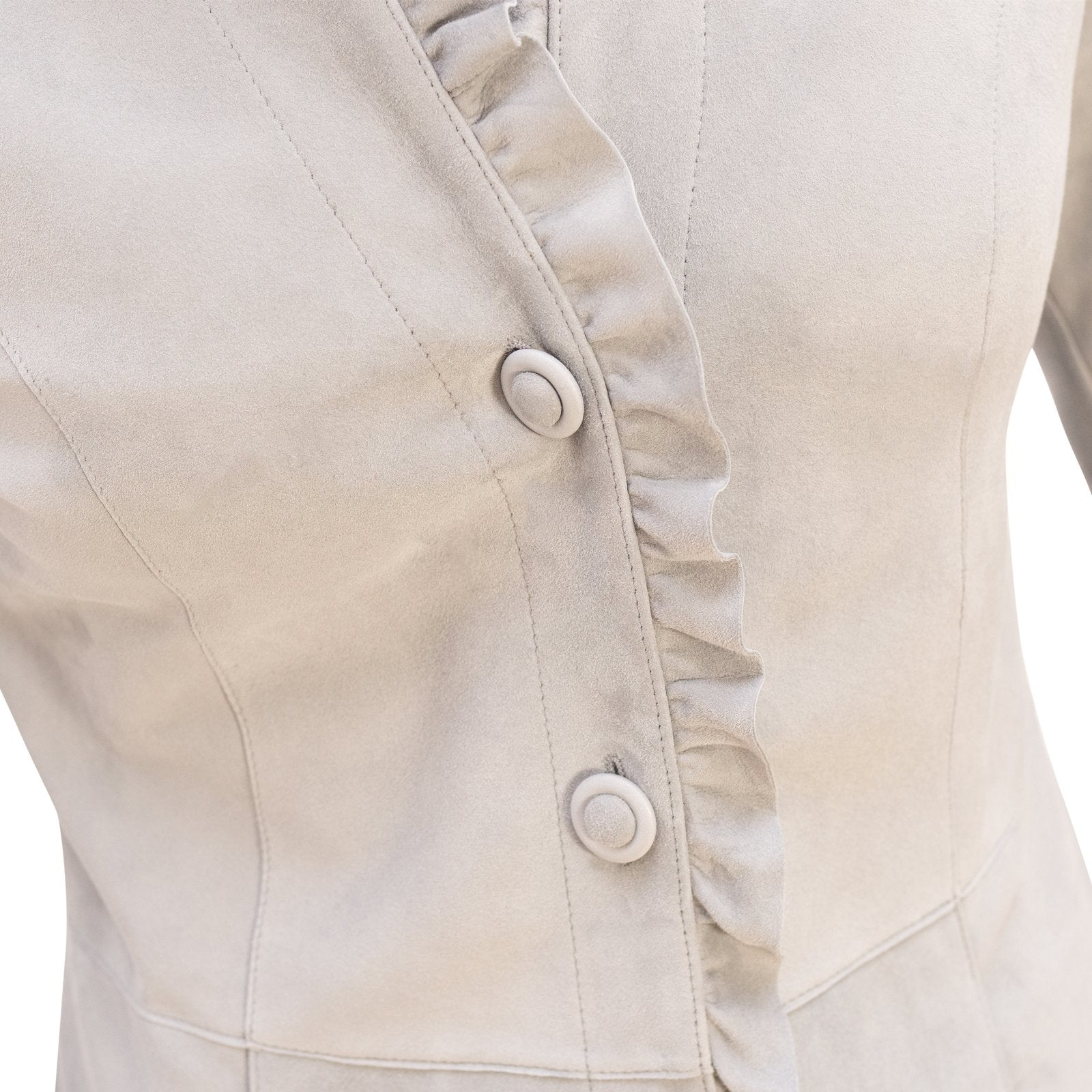 Women Reversible Leather Coat with Ruffles in Ice - Jennifer Tattanelli