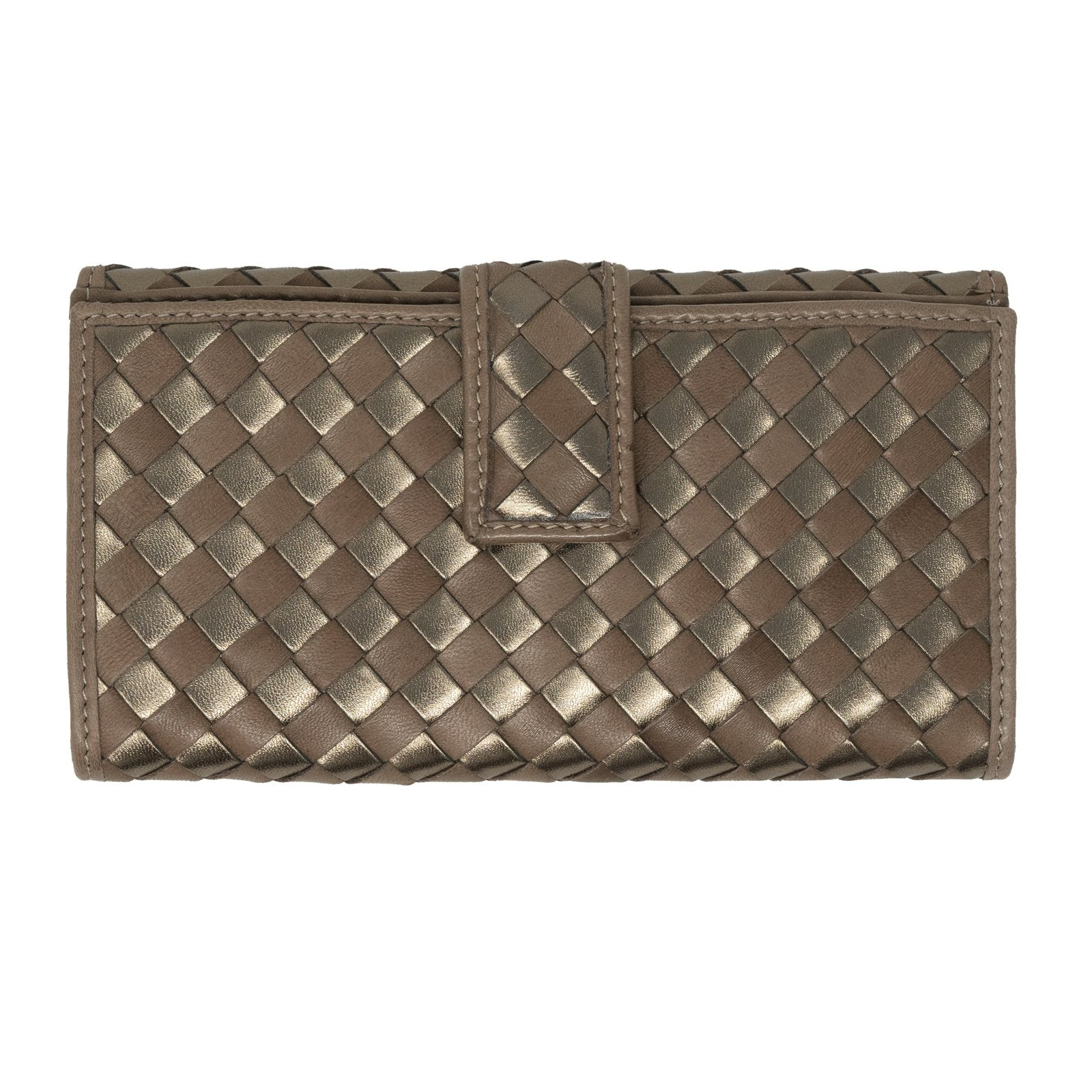 Women Intrecciato Leather Wallet in Taupe and Bronze - Jennifer Tattanelli