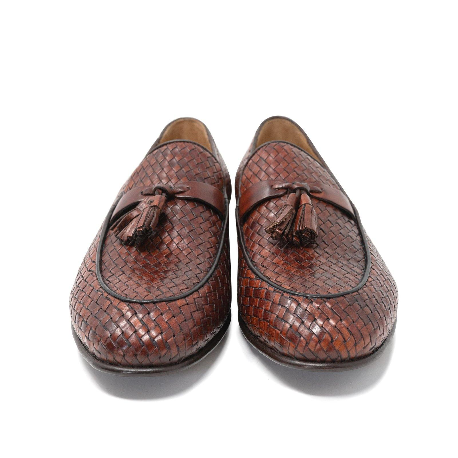 Men Slip On in Intrecciato Cuoio Bruciato Leather