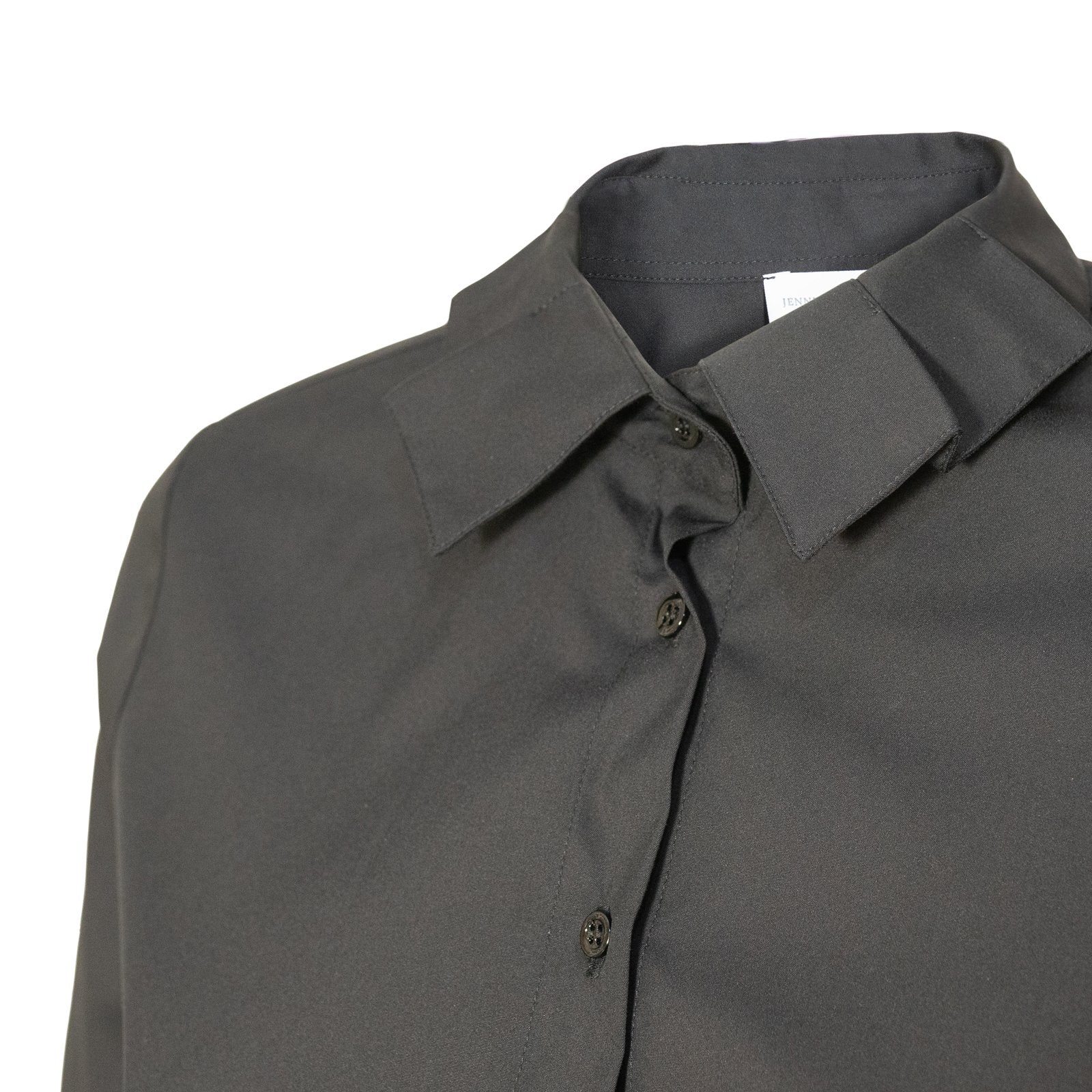 Women Cotton Stretch Poplin Shirt in Black - Jennifer Tattanelli