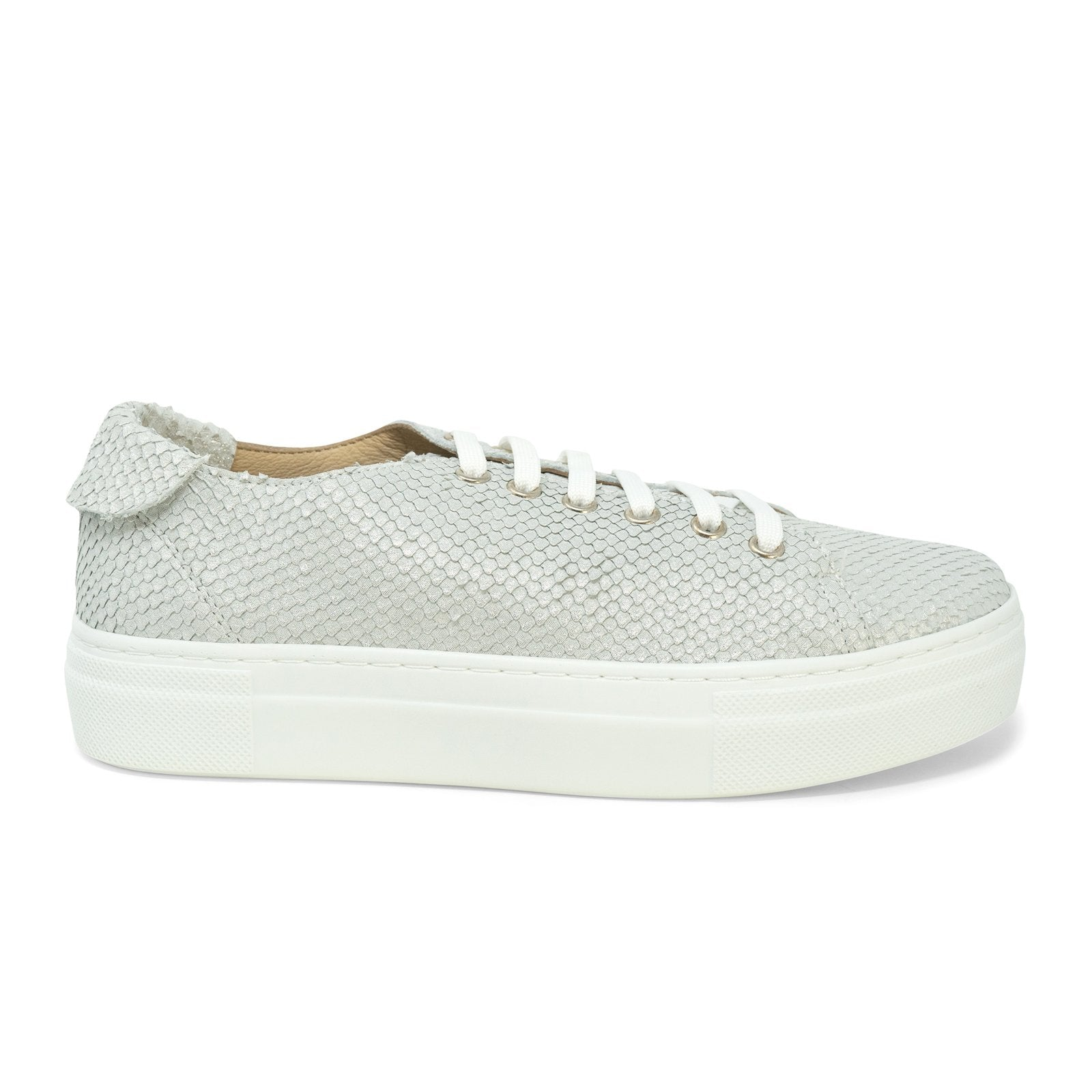 Women Python Print Leather Sneakers in Casper White - Jennifer Tattanelli