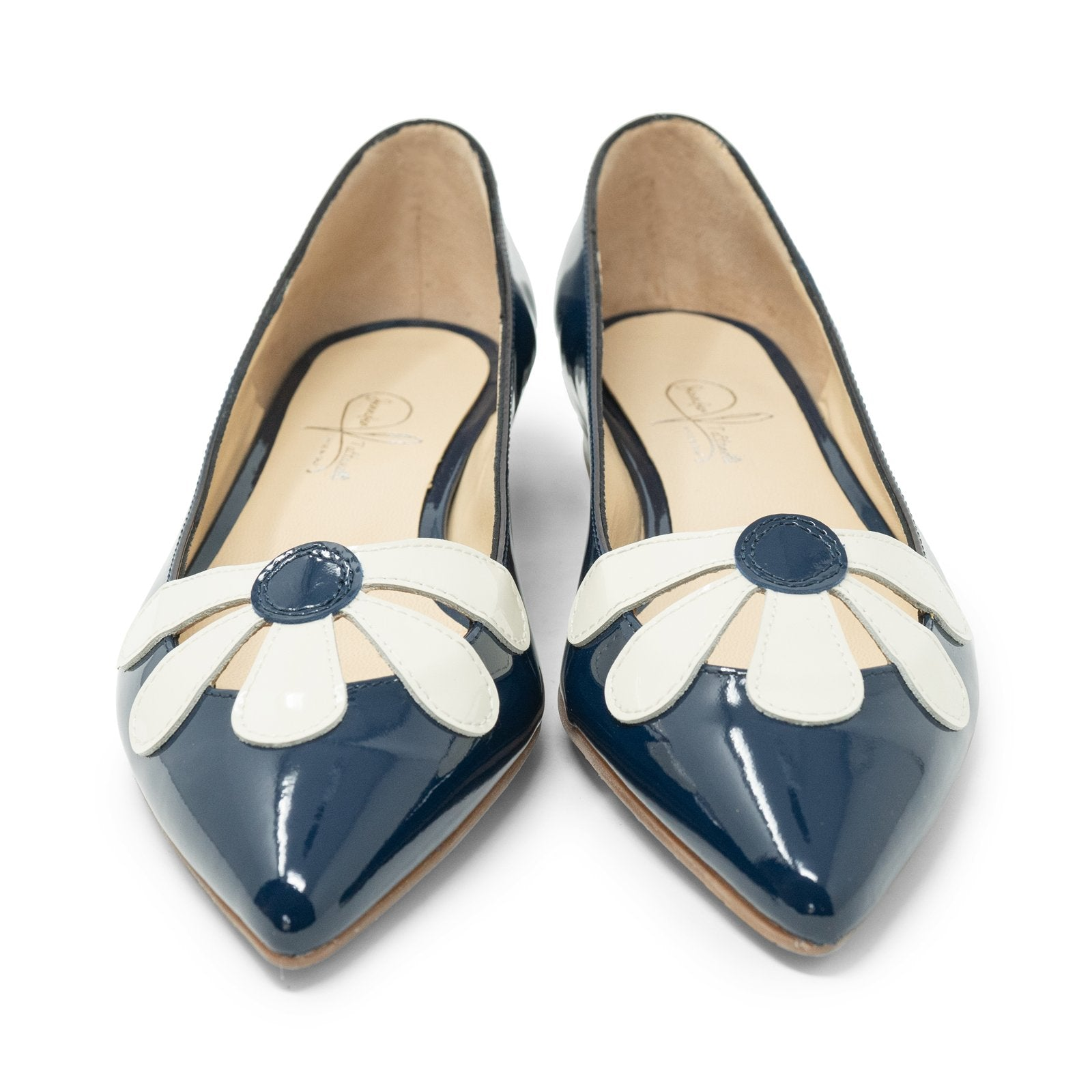 Women Pointed Ballet Flats with Flower in Blue - Jennifer Tattanelli