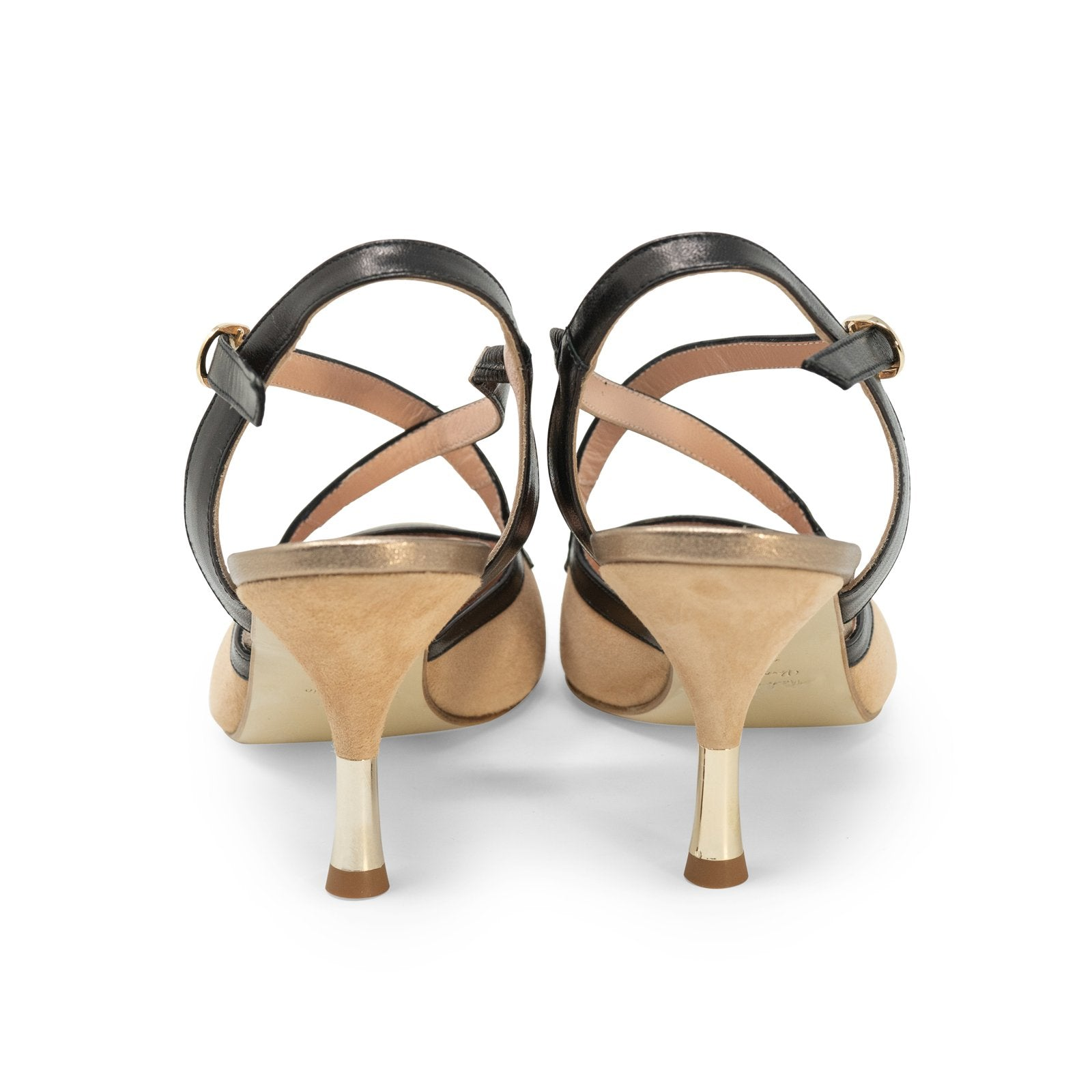 Women Pointed-Toe Backsling Pumps in Camel