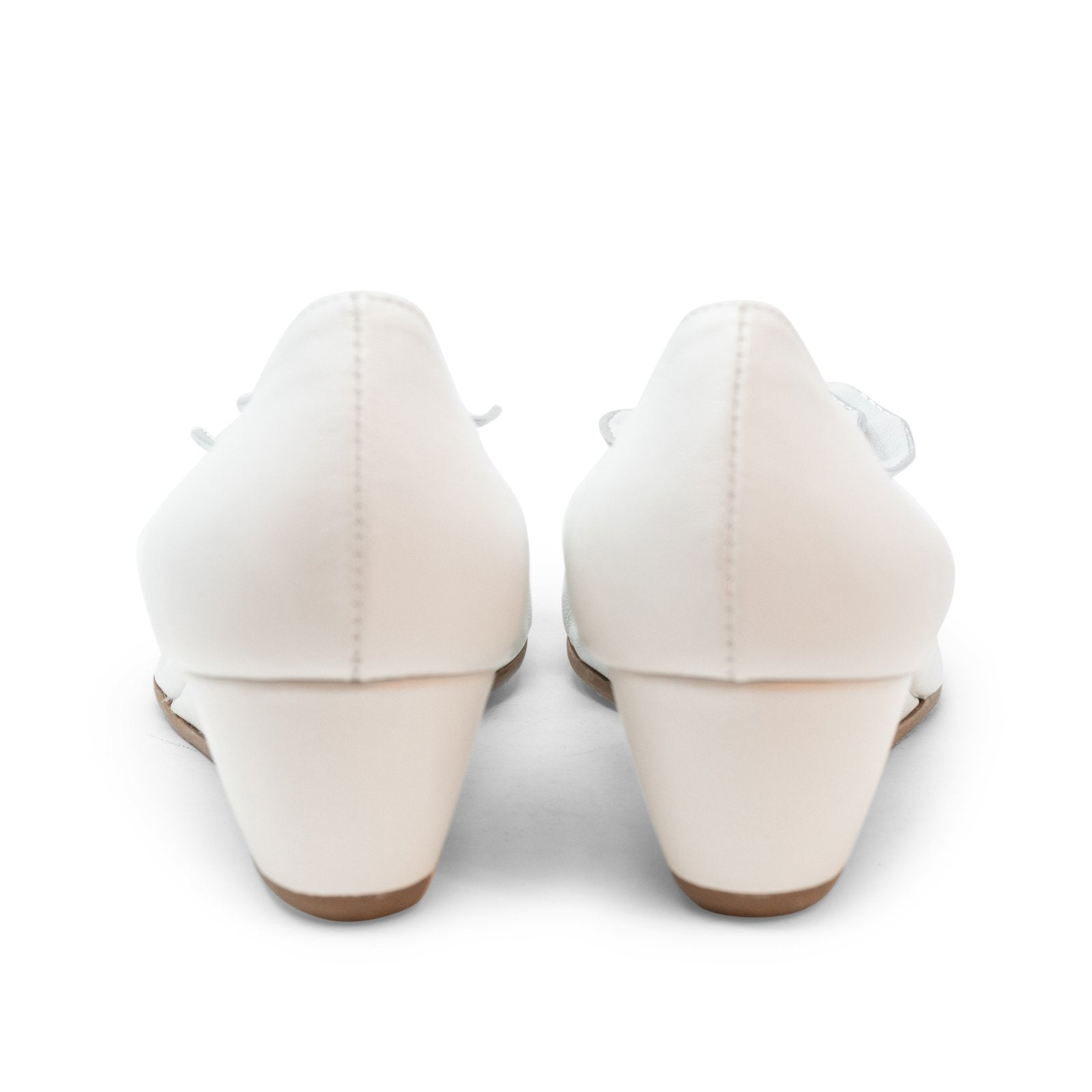 Women Open-Toe Wedges Nappa White - Jennifer Tattanelli