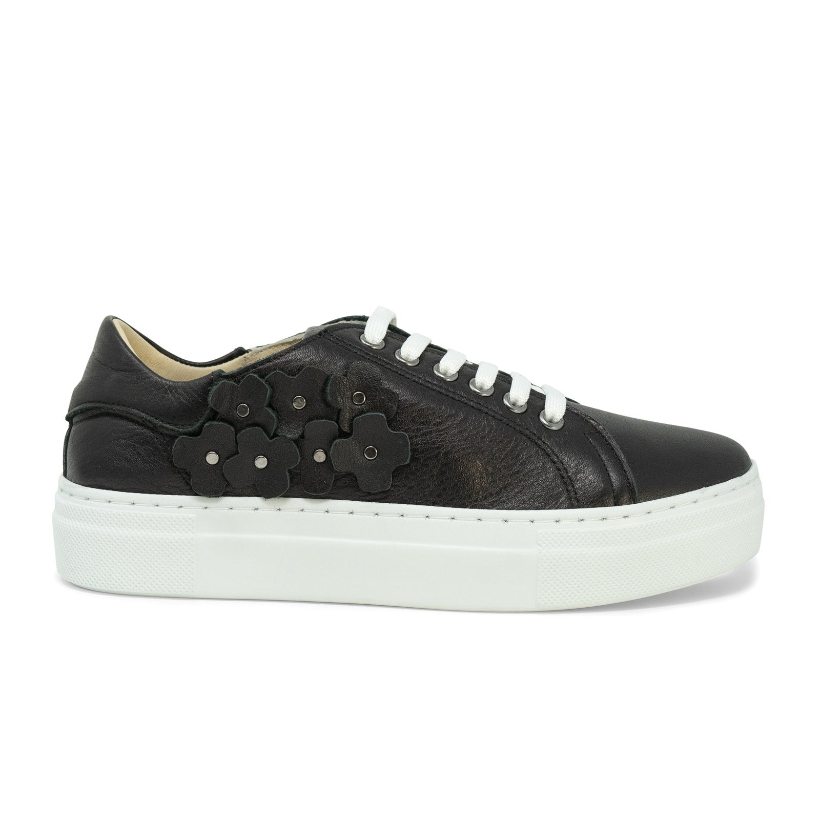 Women Flower Memory Foam Sneakers in Black - Jennifer Tattanelli