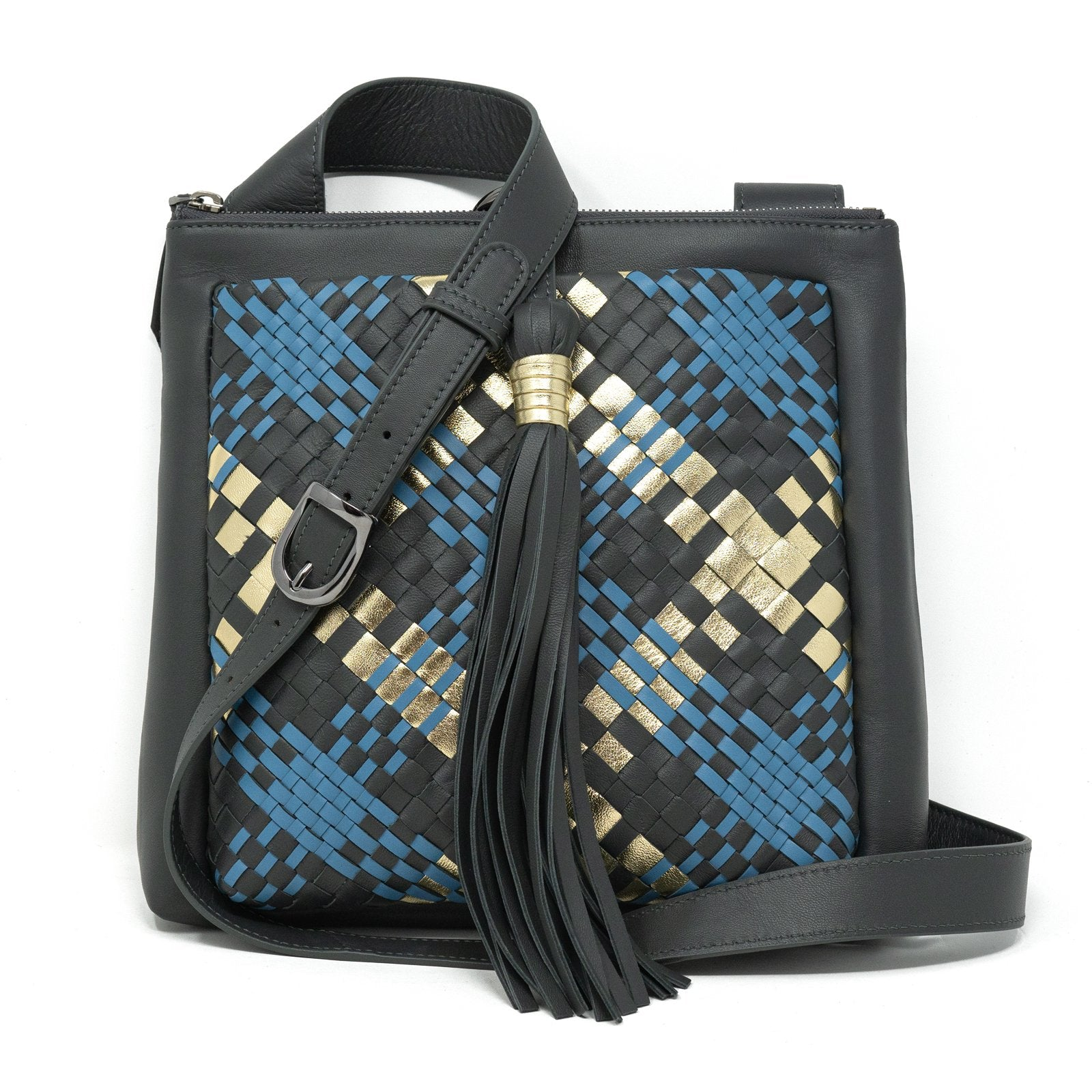 GINGER IS Crossbody Intrecciato Scozzese Bag in Graphite Gold Marine - Jennifer Tattanelli