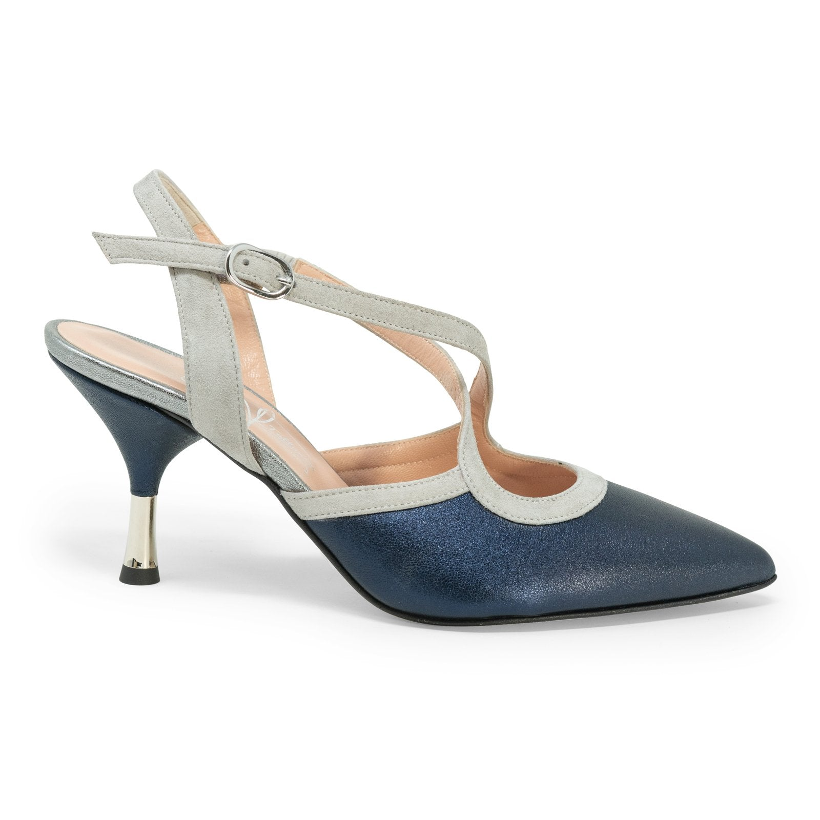 Women Pointed-Toe Backsling Pumps in Night Blue - Jennifer Tattanelli