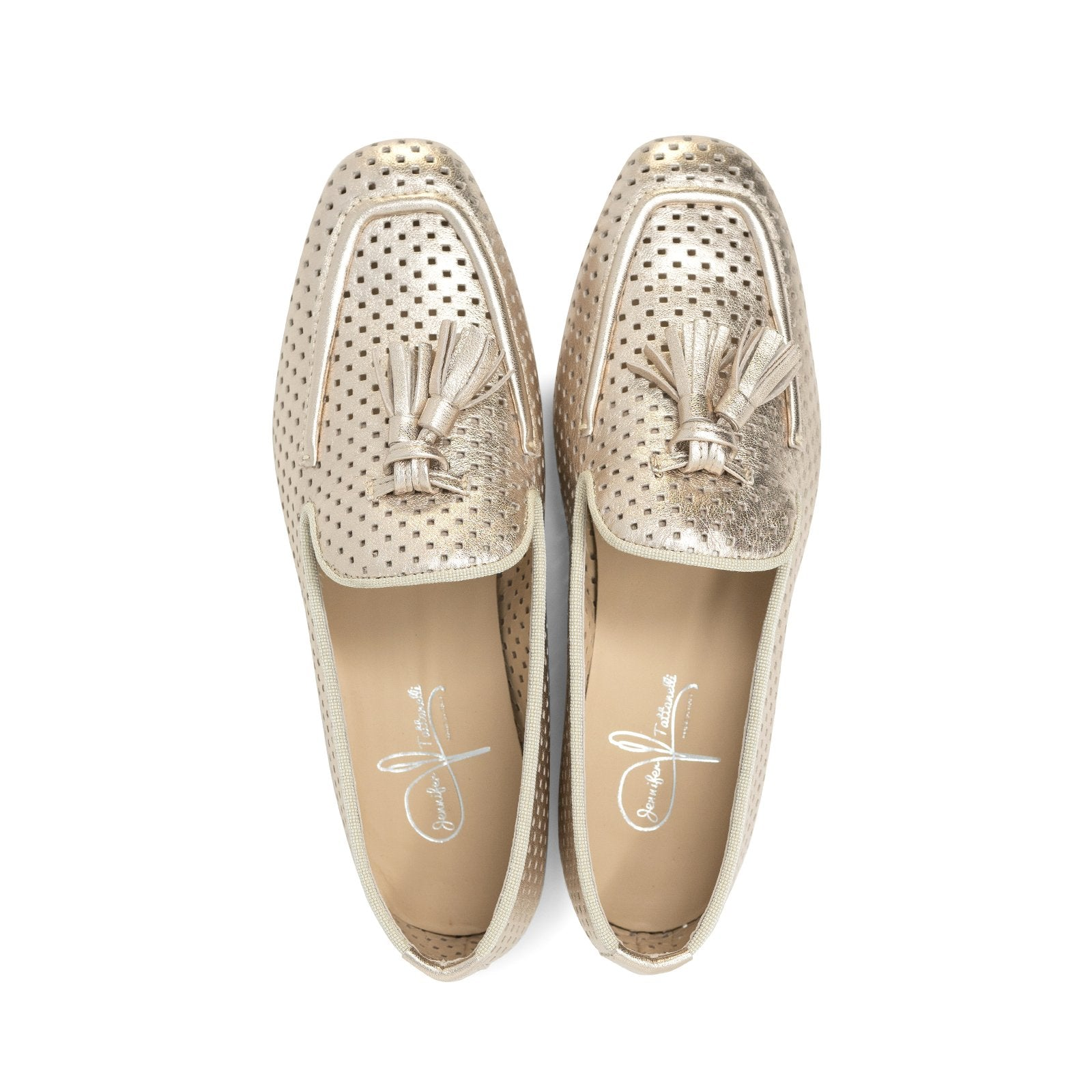 Women Perforated Leather Loafers in Gold - Jennifer Tattanelli