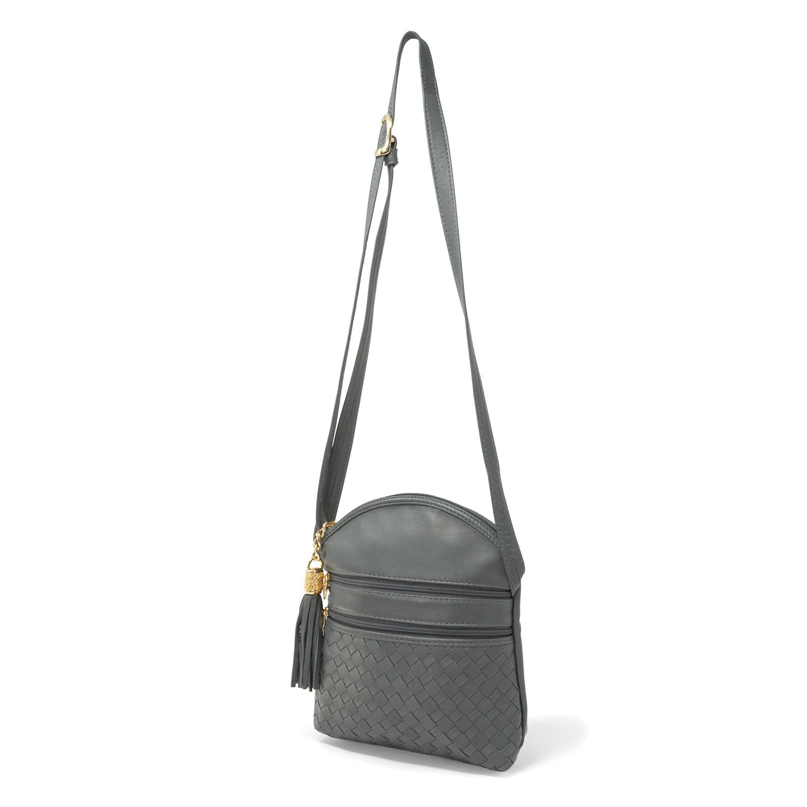 Women Intrecciato Leather Soft Messenger LUC964 Grey Quadro - Jennifer Tattanelli