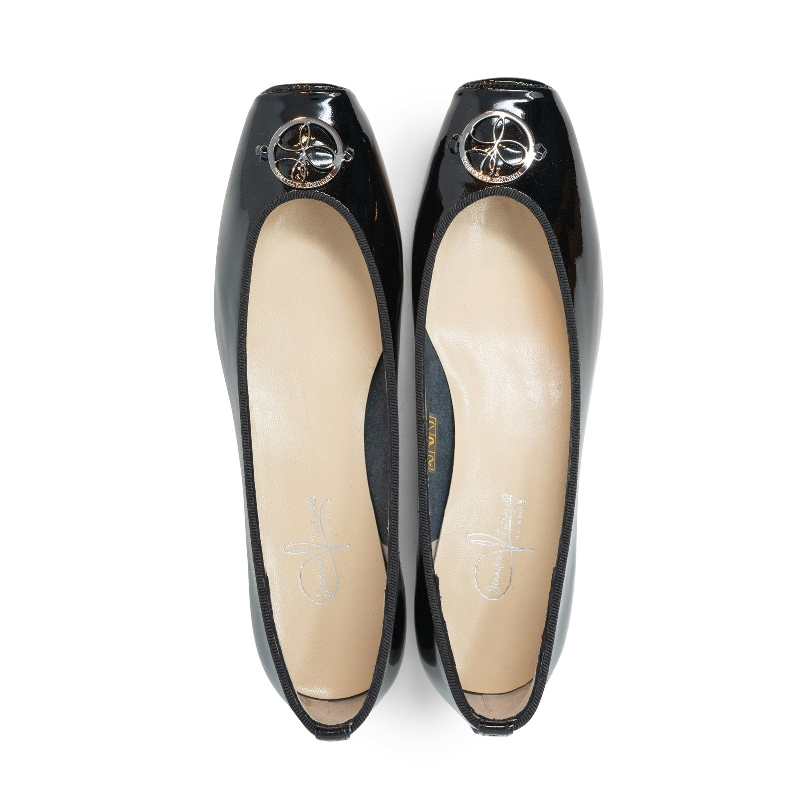 Women Ballerina Shoes with hidden heel in Patent Black - Jennifer Tattanelli