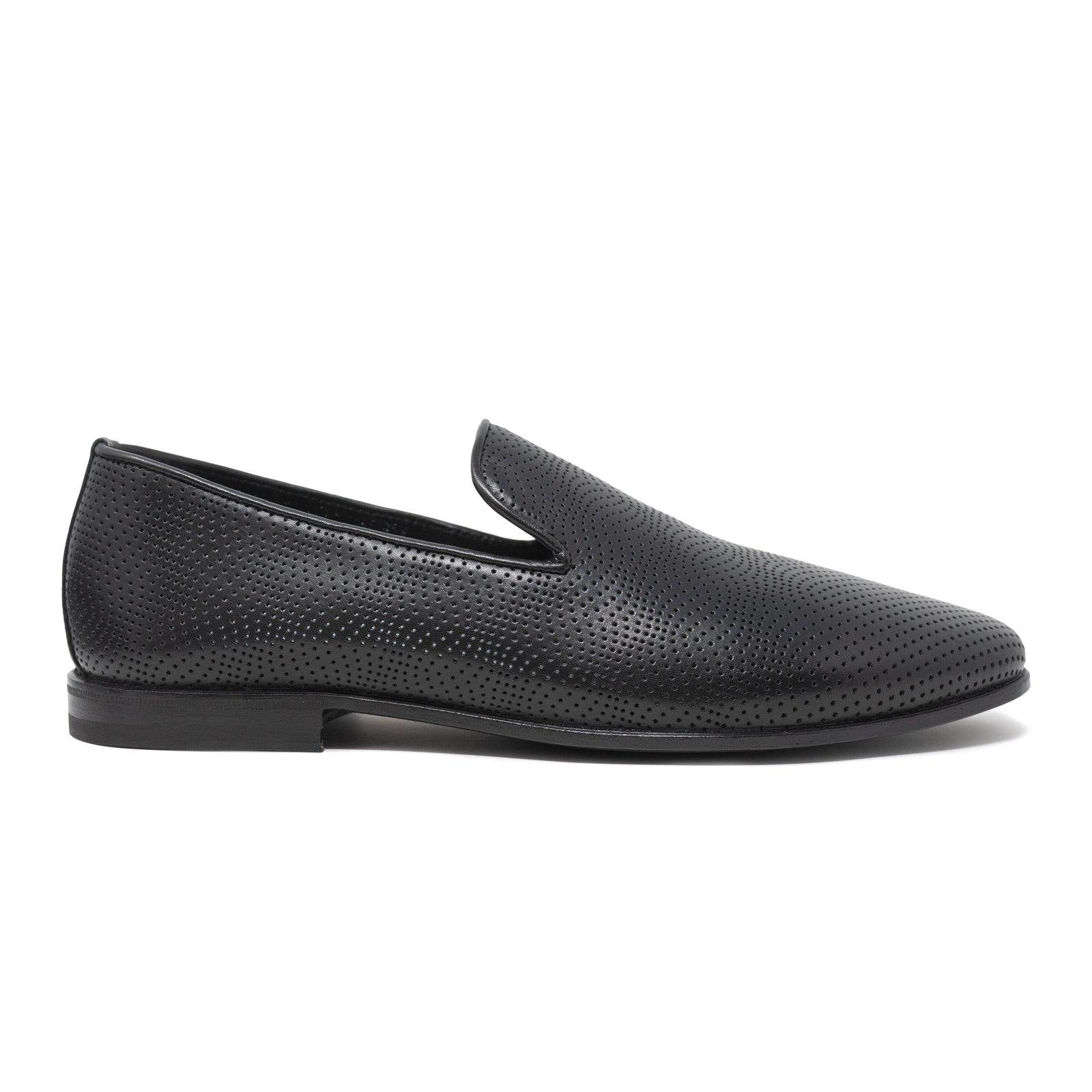 Men Slip On Leather Shoes in Black Perforated Nappa - Jennifer Tattanelli