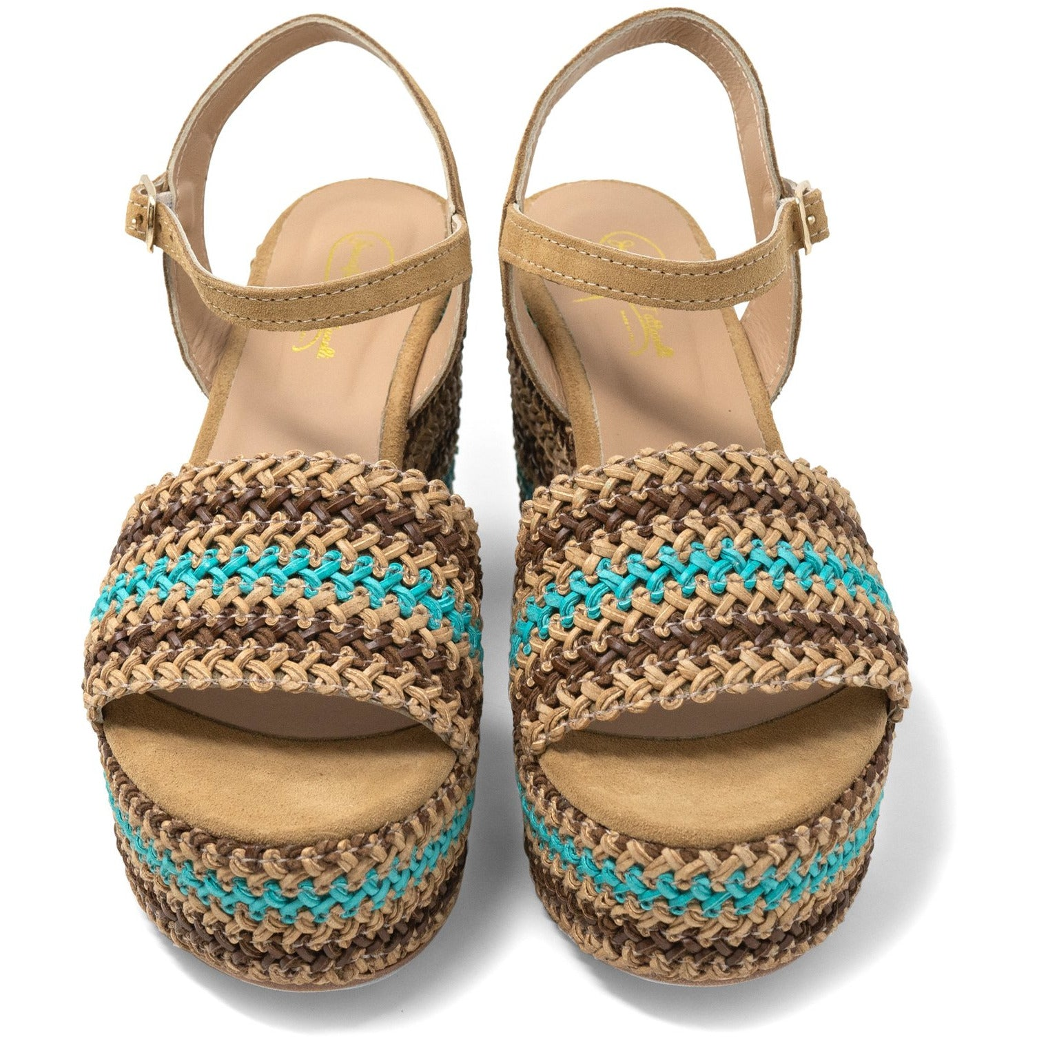 Women Platform Wedge Sandals in Beige and Green - Jennifer Tattanelli