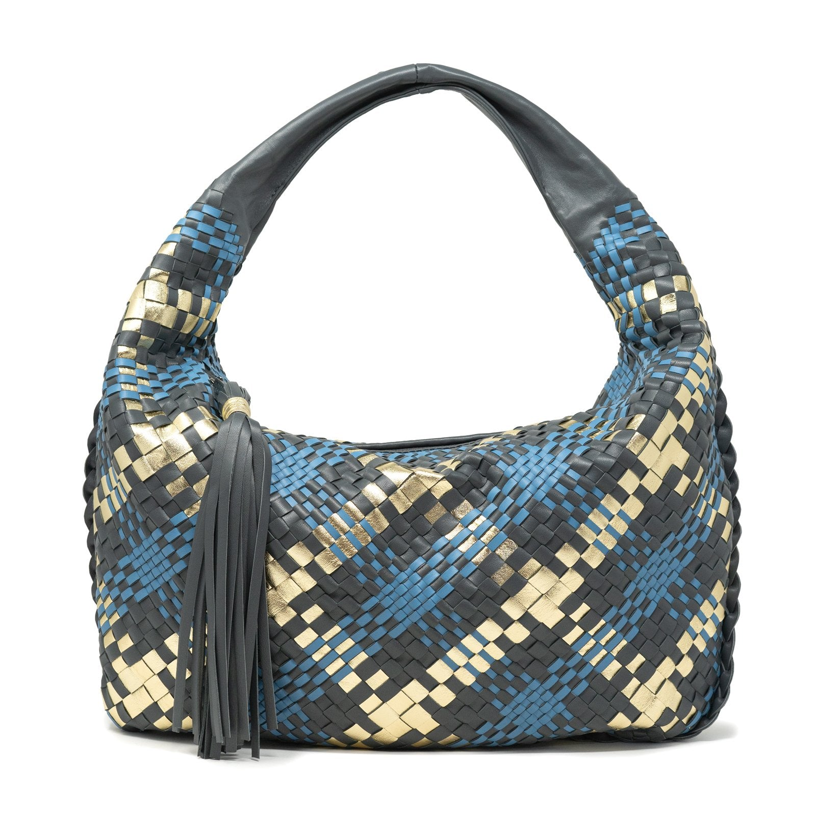 Brigitte Is Women Hobo Bag Intreccio Scozzese in Graphite Gold Marine - Jennifer Tattanelli