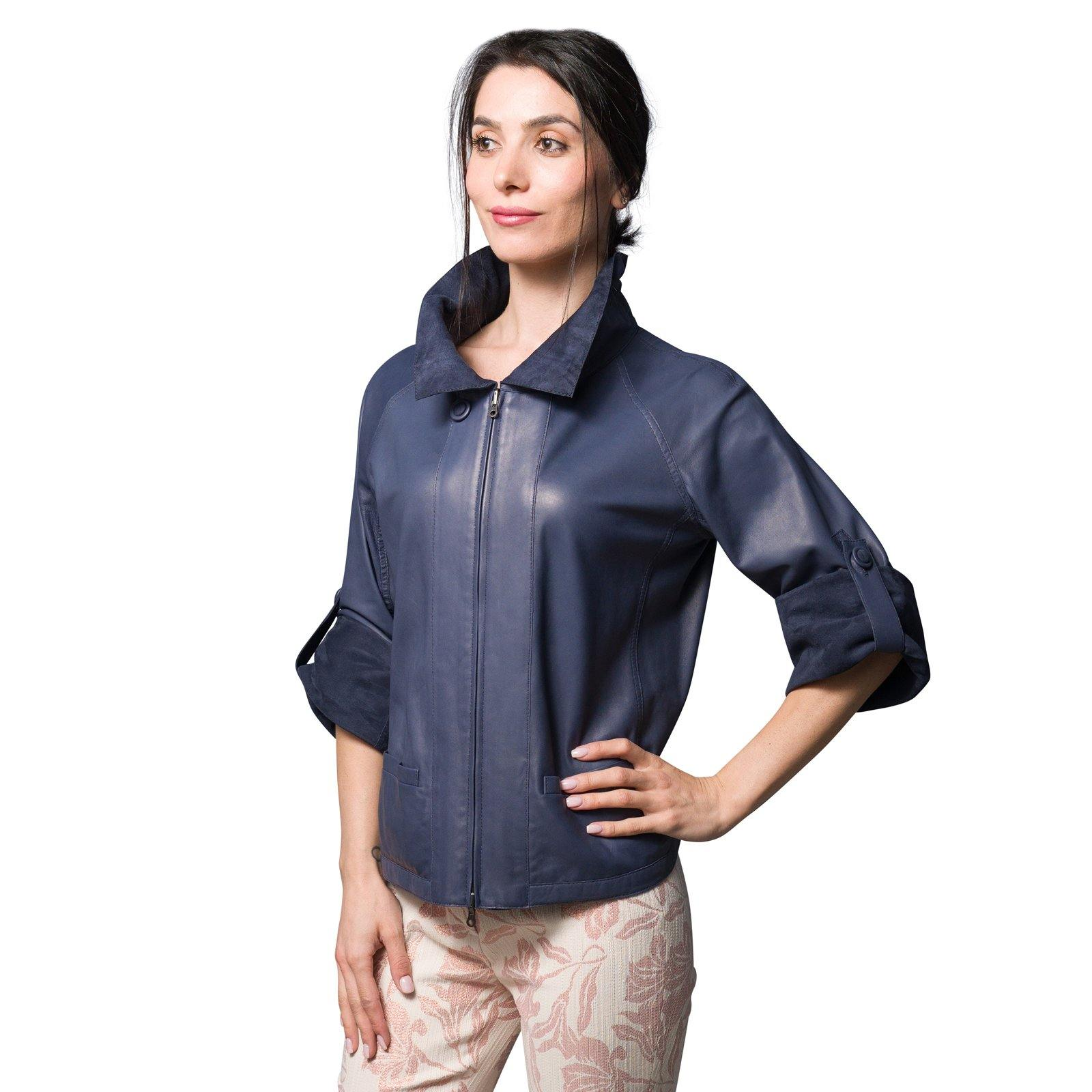 Audrey Reversible Pieno Fiore Leather Jacket in Carta da Zucchero