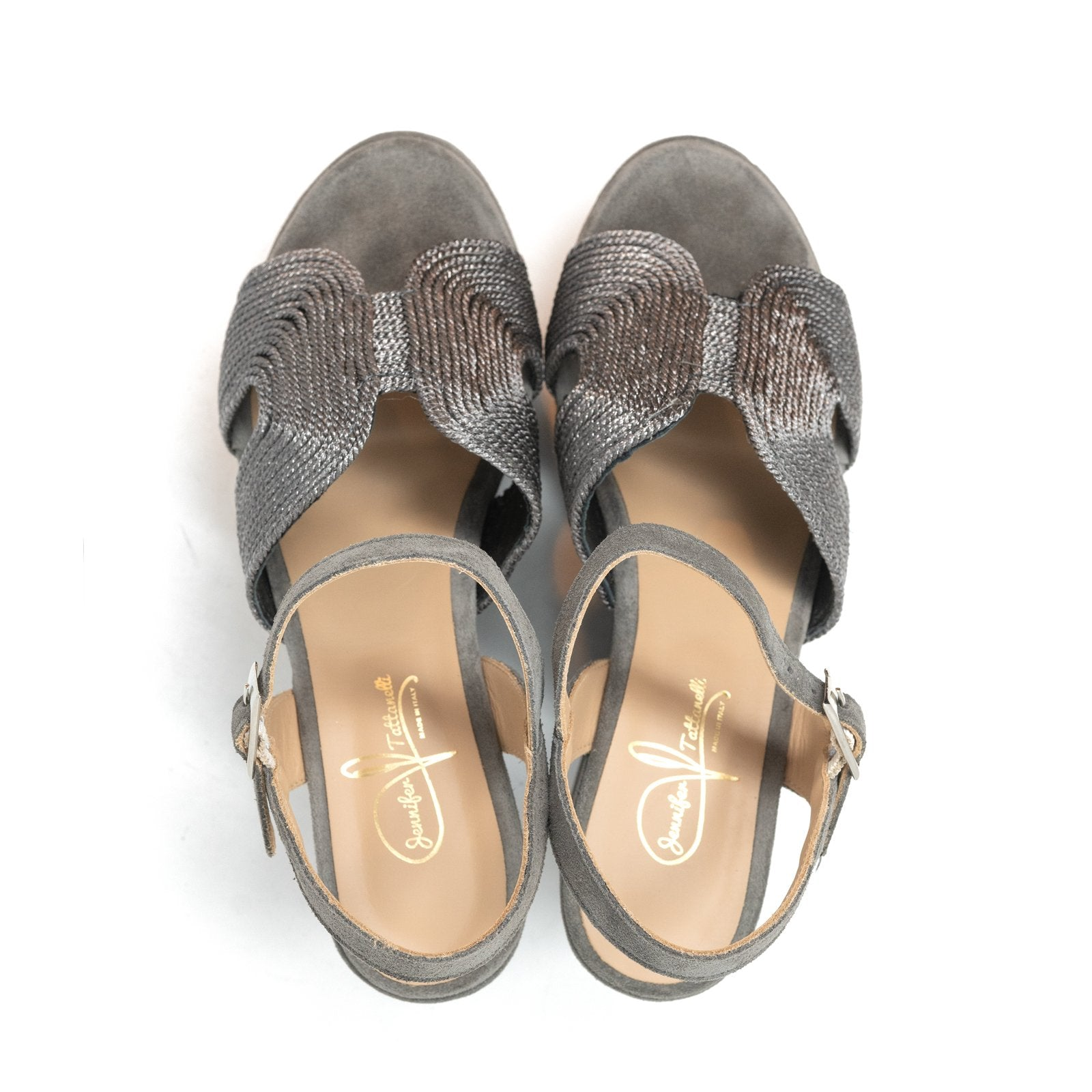 Women Suede Wedge Sandals in Grey - Jennifer Tattanelli