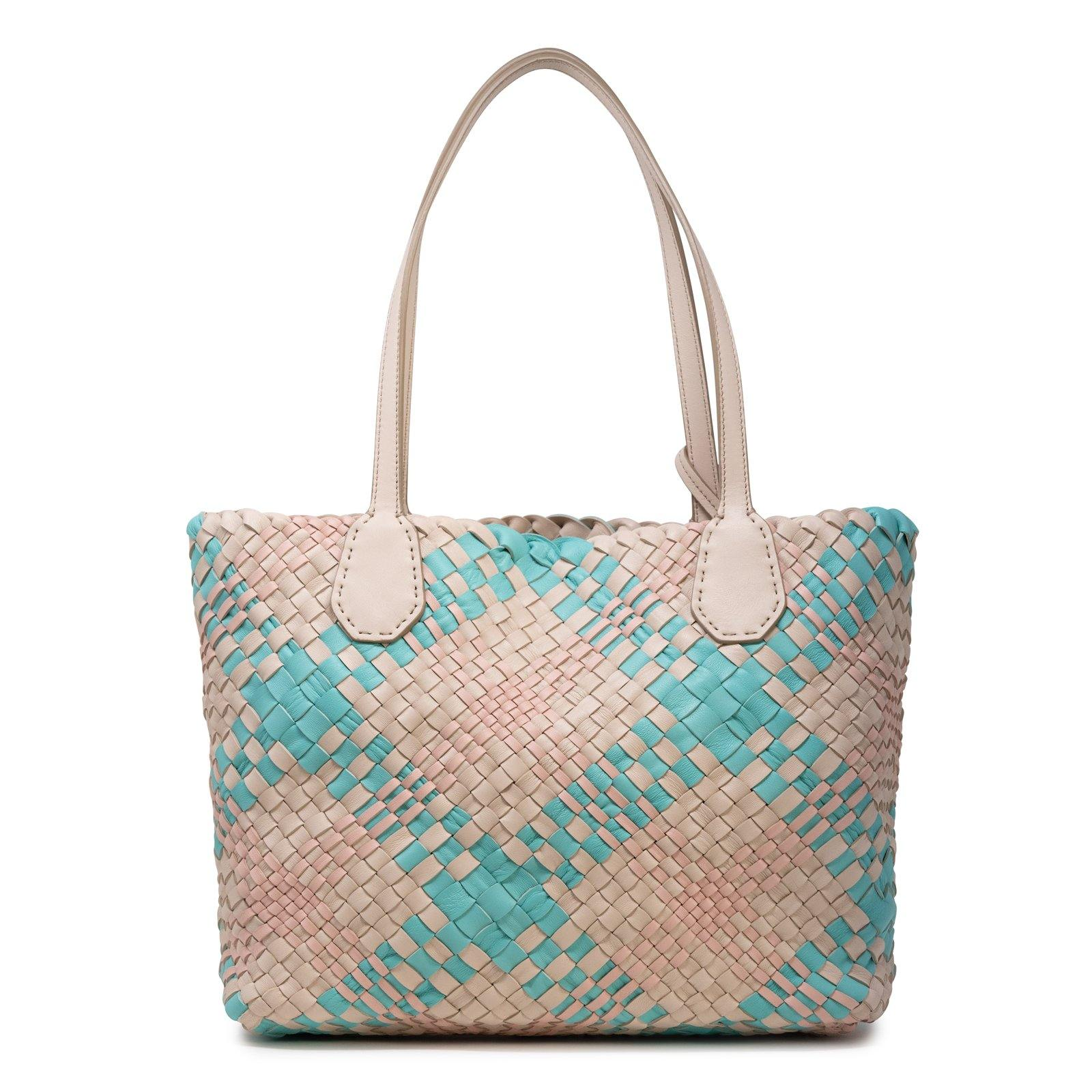 Women Leather Intreccio Scozzese Bag in Sabbia, Tiffany and Pink
