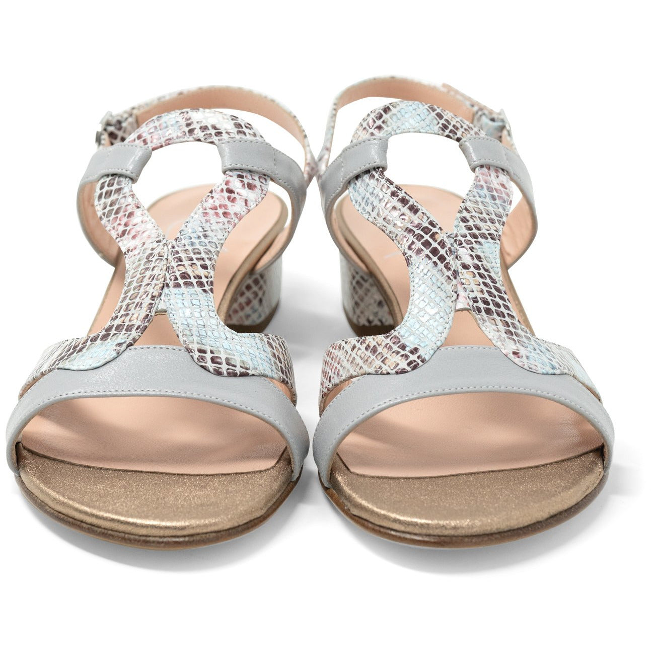 Women Roman Python Sandals in Pearl Grey - Jennifer Tattanelli