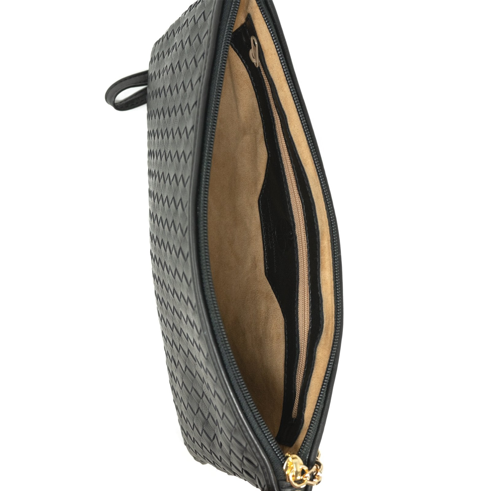 Women Intrecciato Leather Soft Pouch Intreccio Quadro Bronze - Jennifer Tattanelli