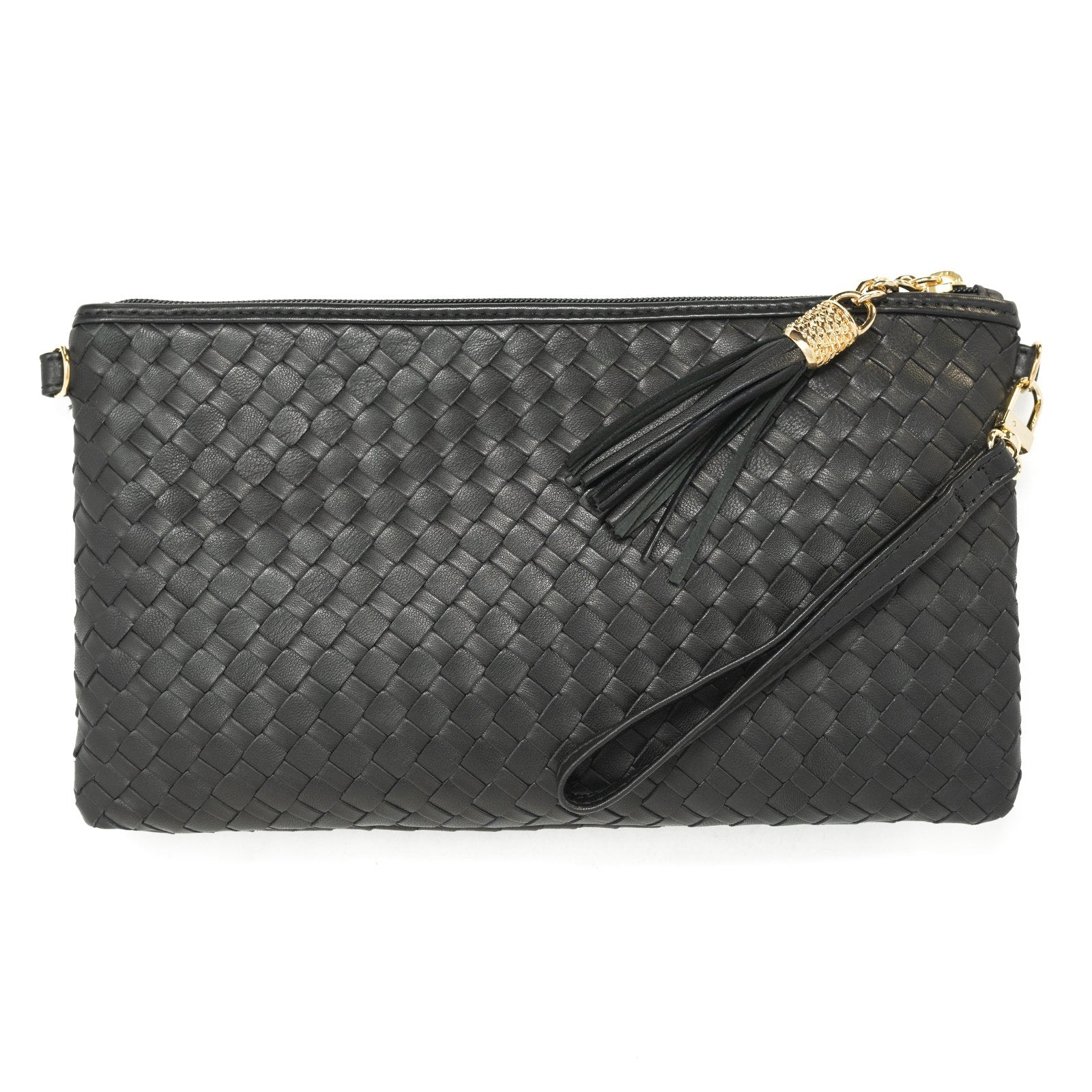 Women Intrecciato Leather Soft Pouch Black Intreccio Quadro - Jennifer Tattanelli