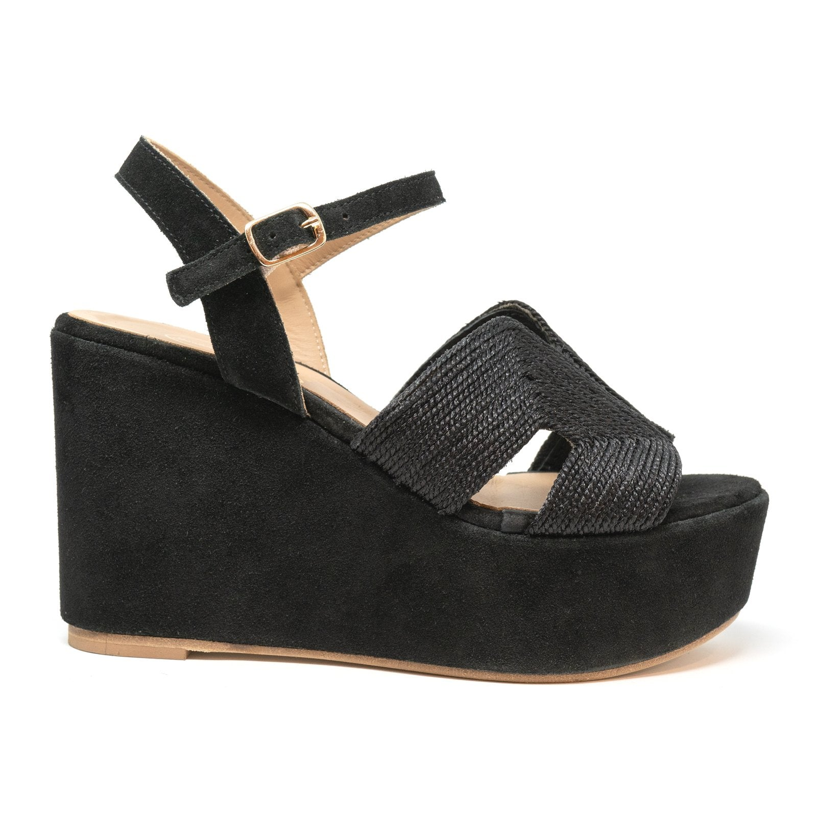 Women Suede Wedge Sandals in Black - Jennifer Tattanelli