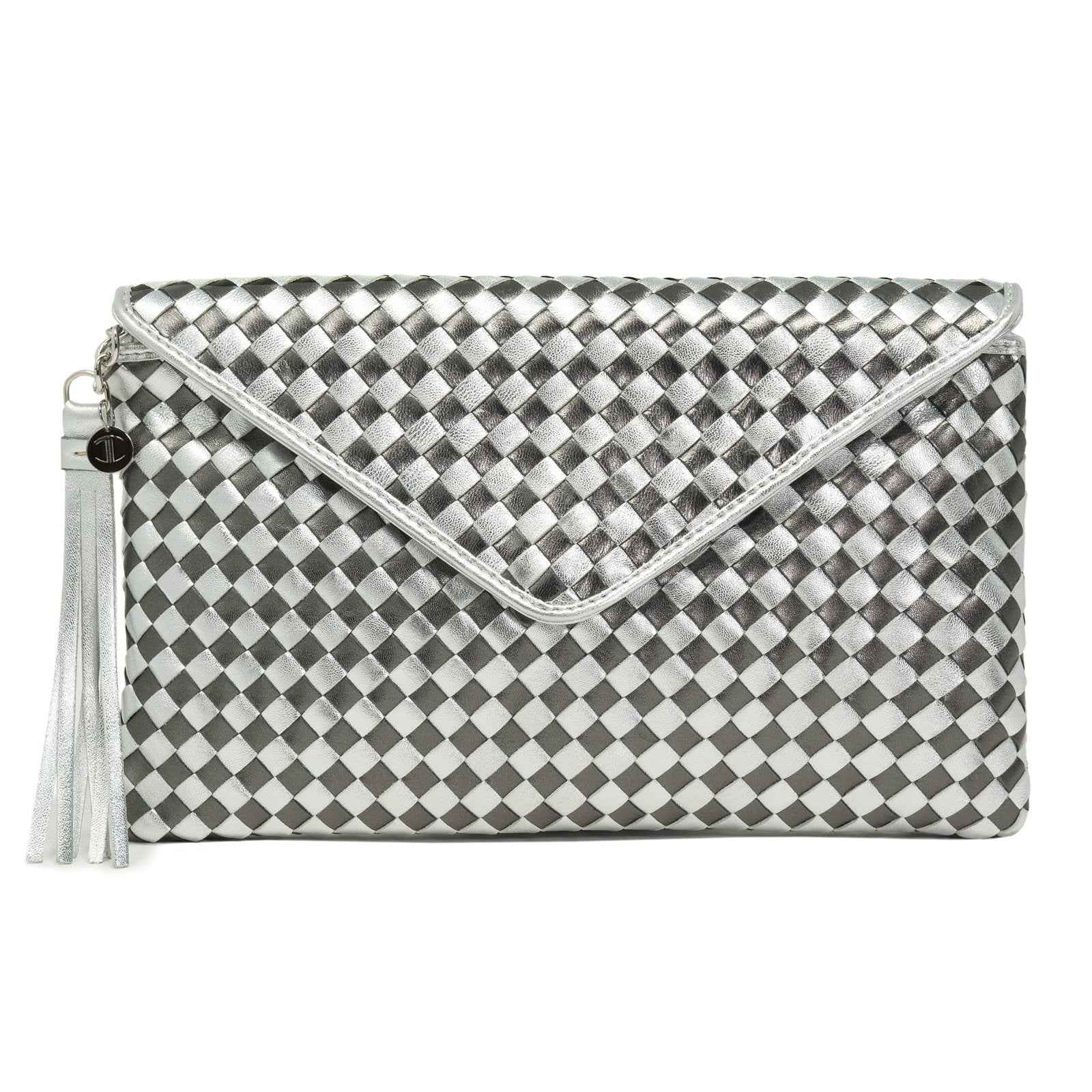 Women Intrecciato Leather Clutch Intrecciato Quadro Gun Metal - Jennifer Tattanelli