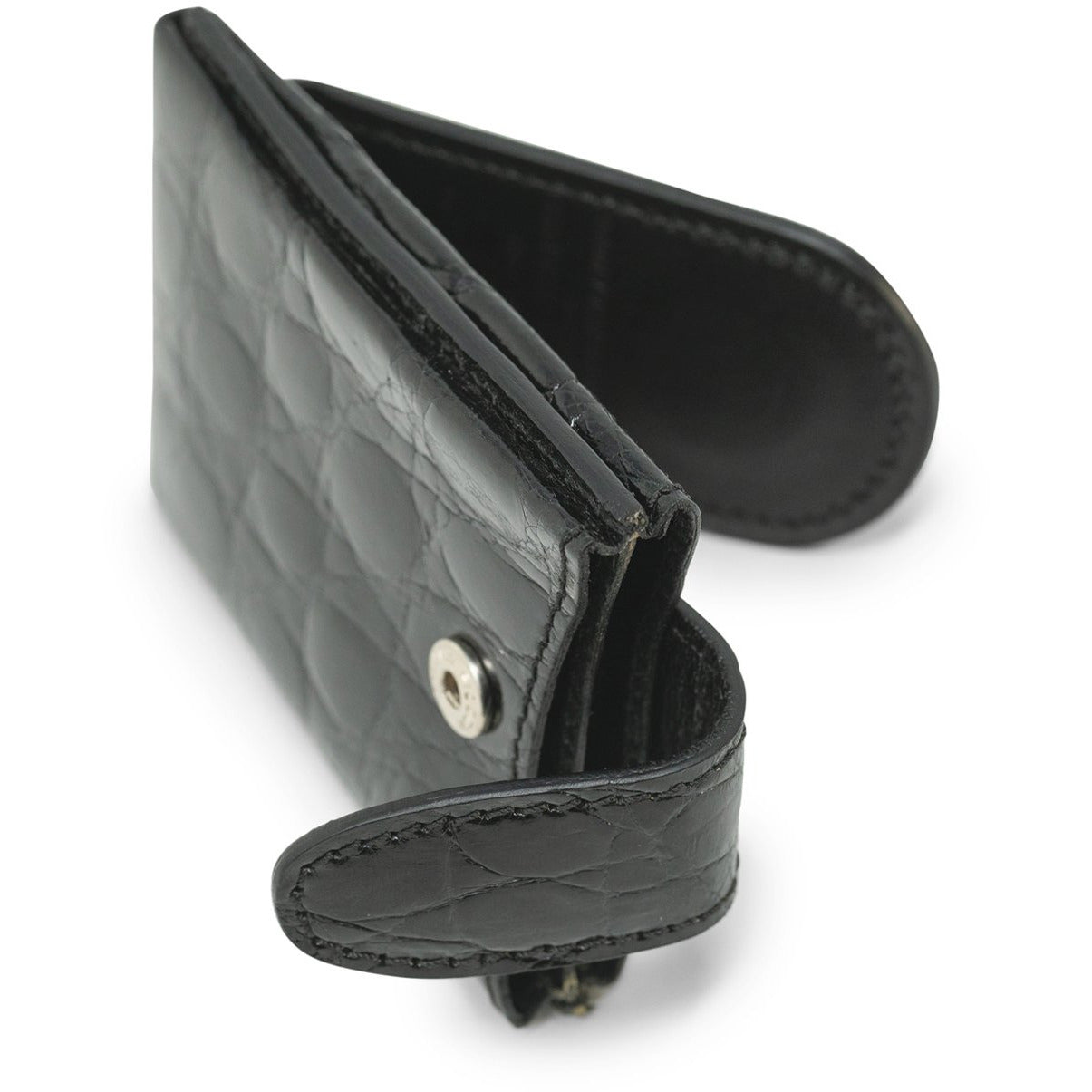 Money Clips and Card Holder in Black Crocodile - Jennifer Tattanelli