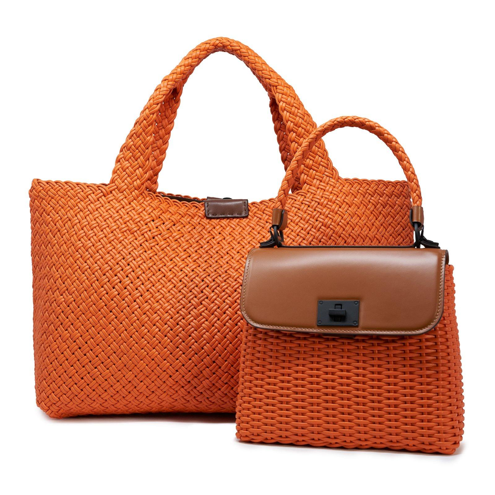 Women Leather Orange Intreccio Fettuccina Bag
