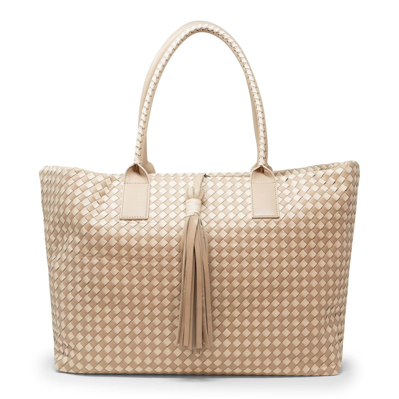 Sophia Maxi Intrecciato Zippered Shopping Bag in Beige - Jennifer Tattanelli