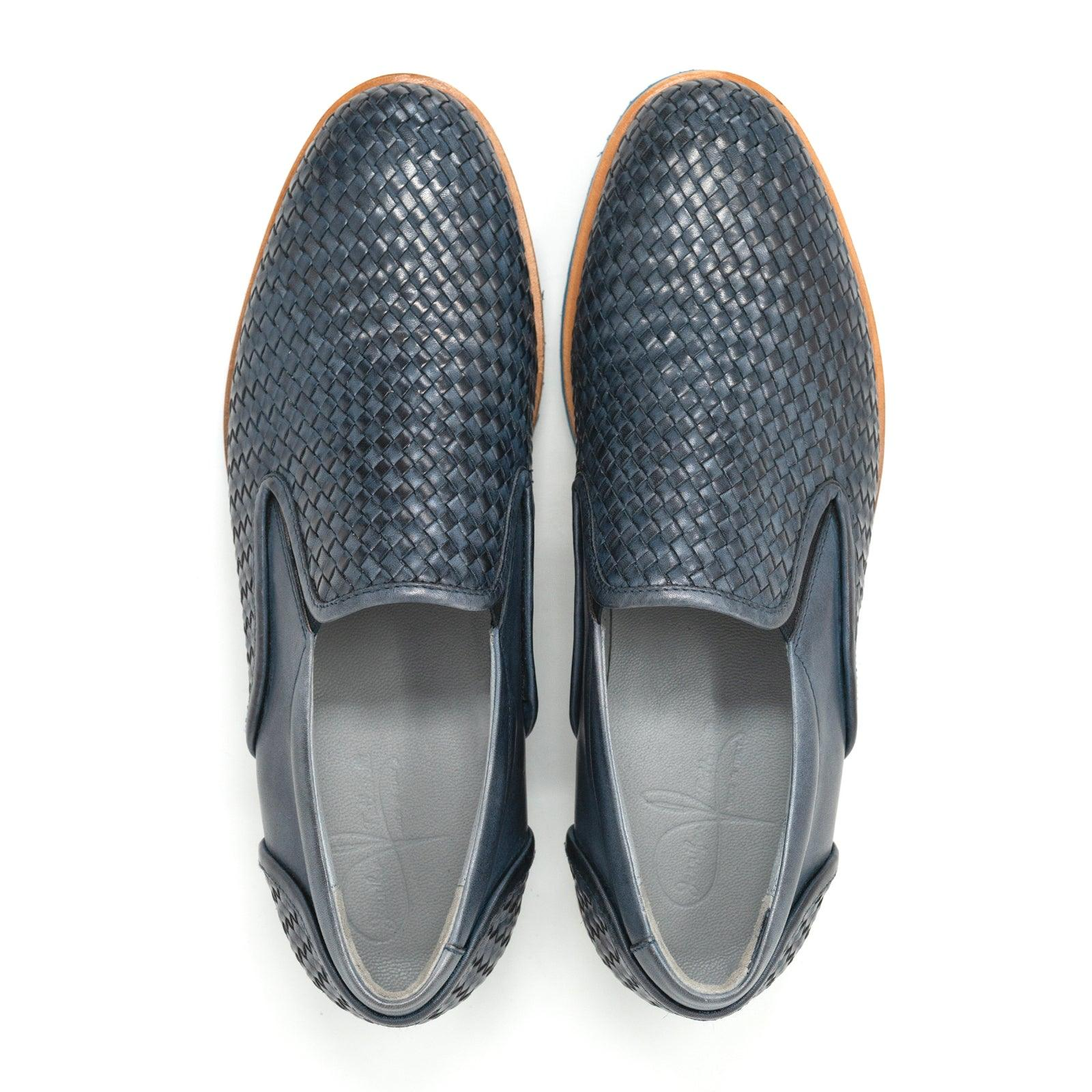 Men's Blue Leather Slip Ons
