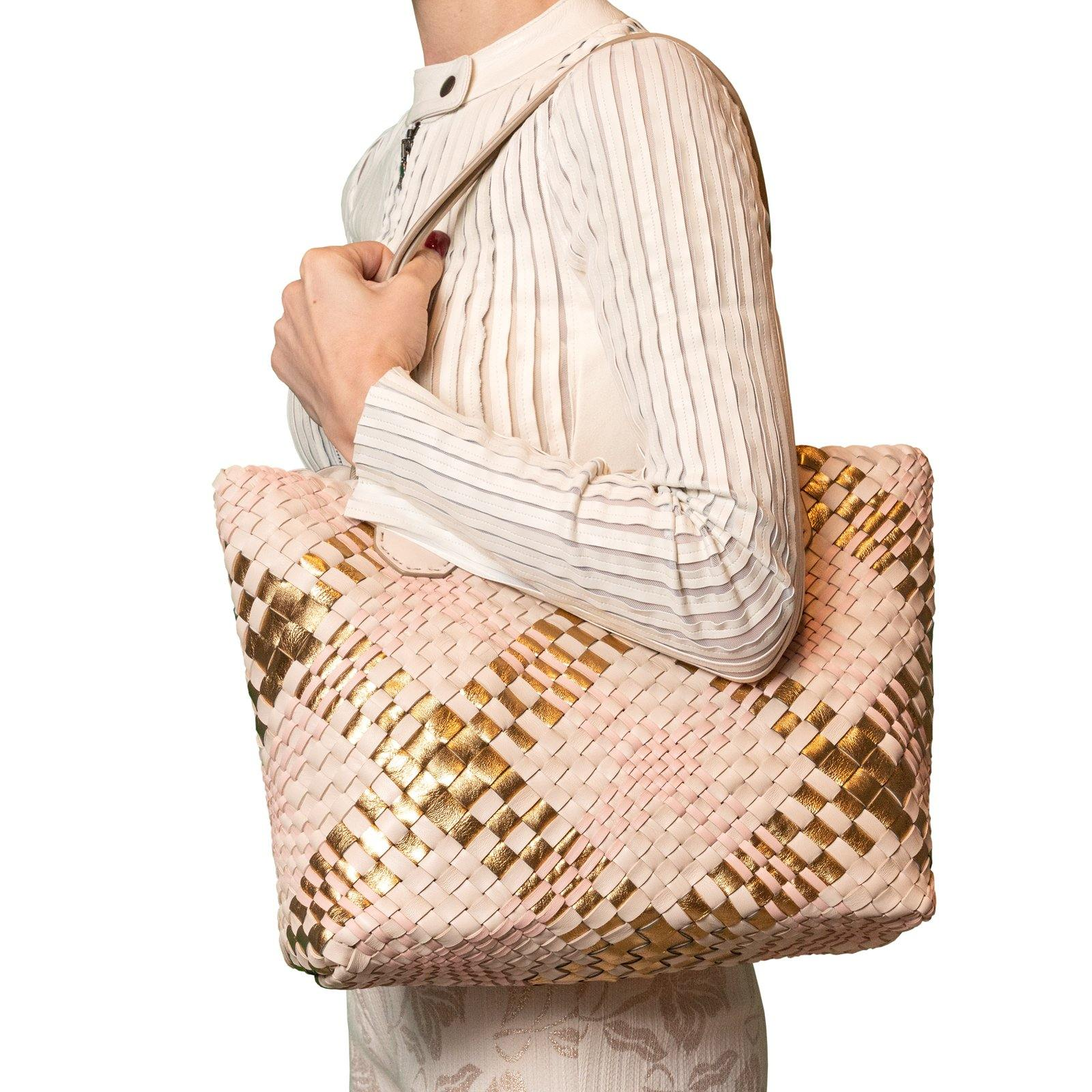 Women Leather Intreccio Scozzese Leather Bag in Sabbia, Pink and Gold