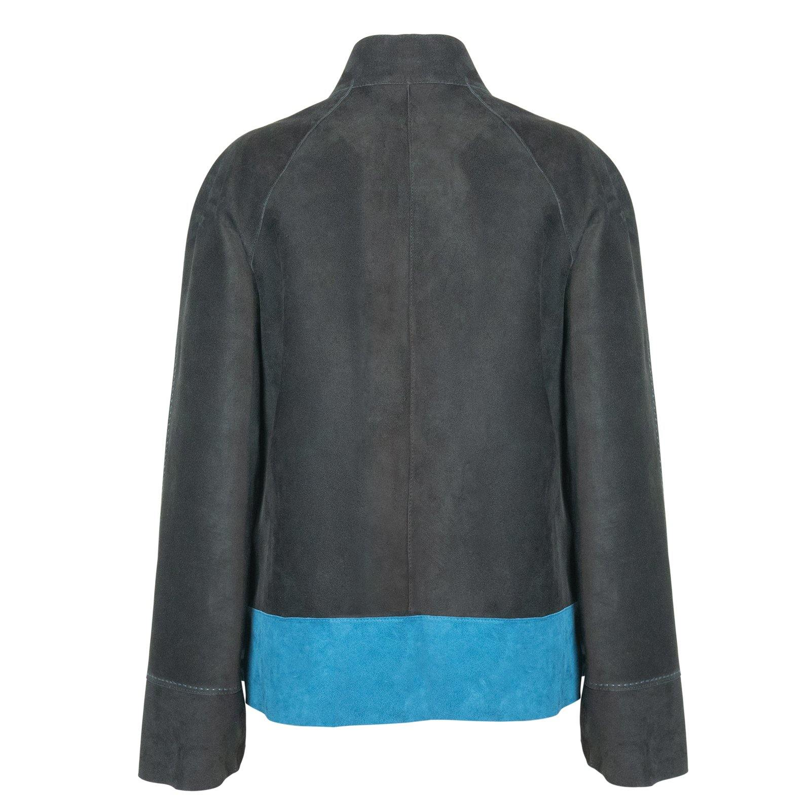 HEPBURN Reversible Leather Jacket in Black, Light Blue and Avio