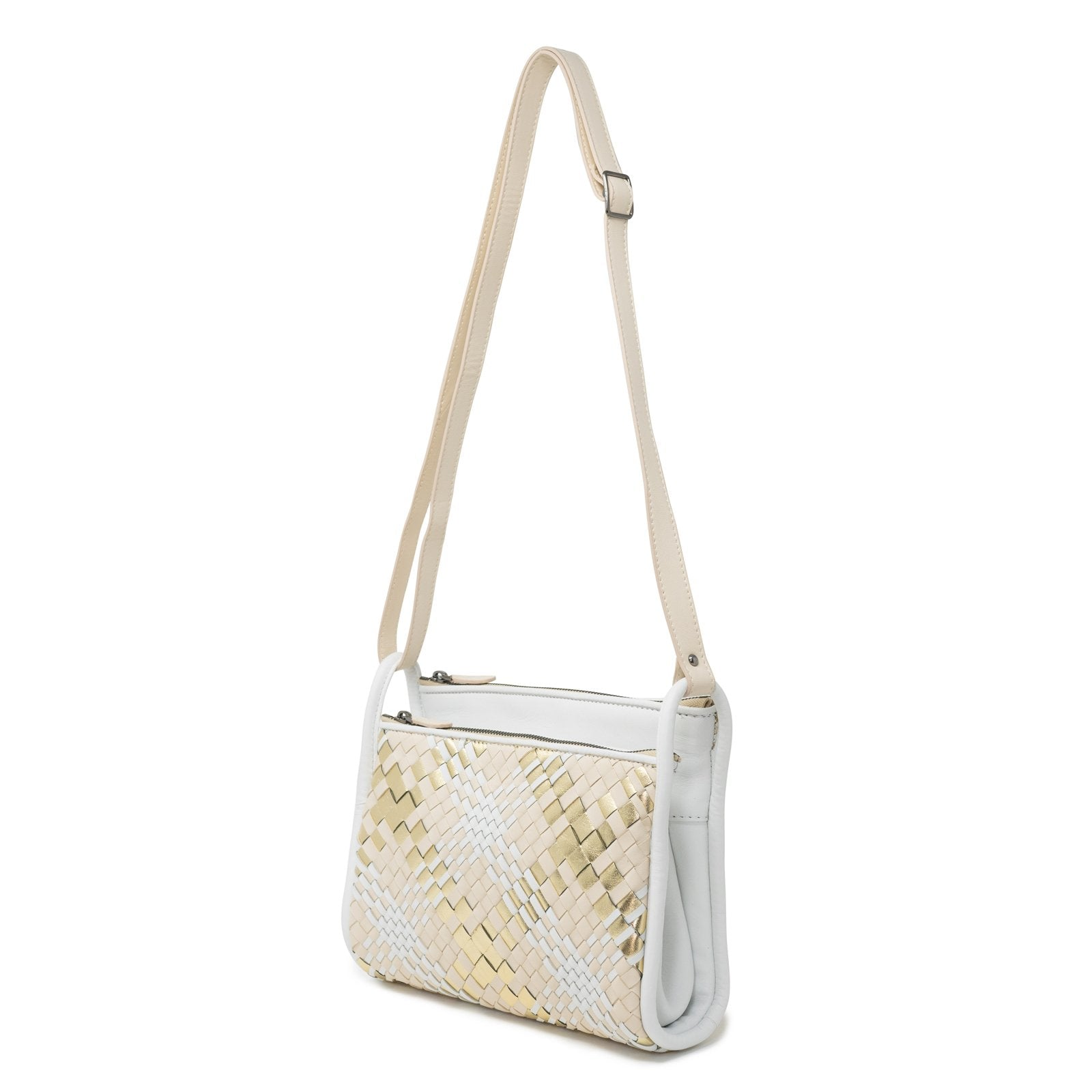 JT334 5557 Intrecciato Scozzese Leather Shoulder Bag in Nappa Beige - Jennifer Tattanelli