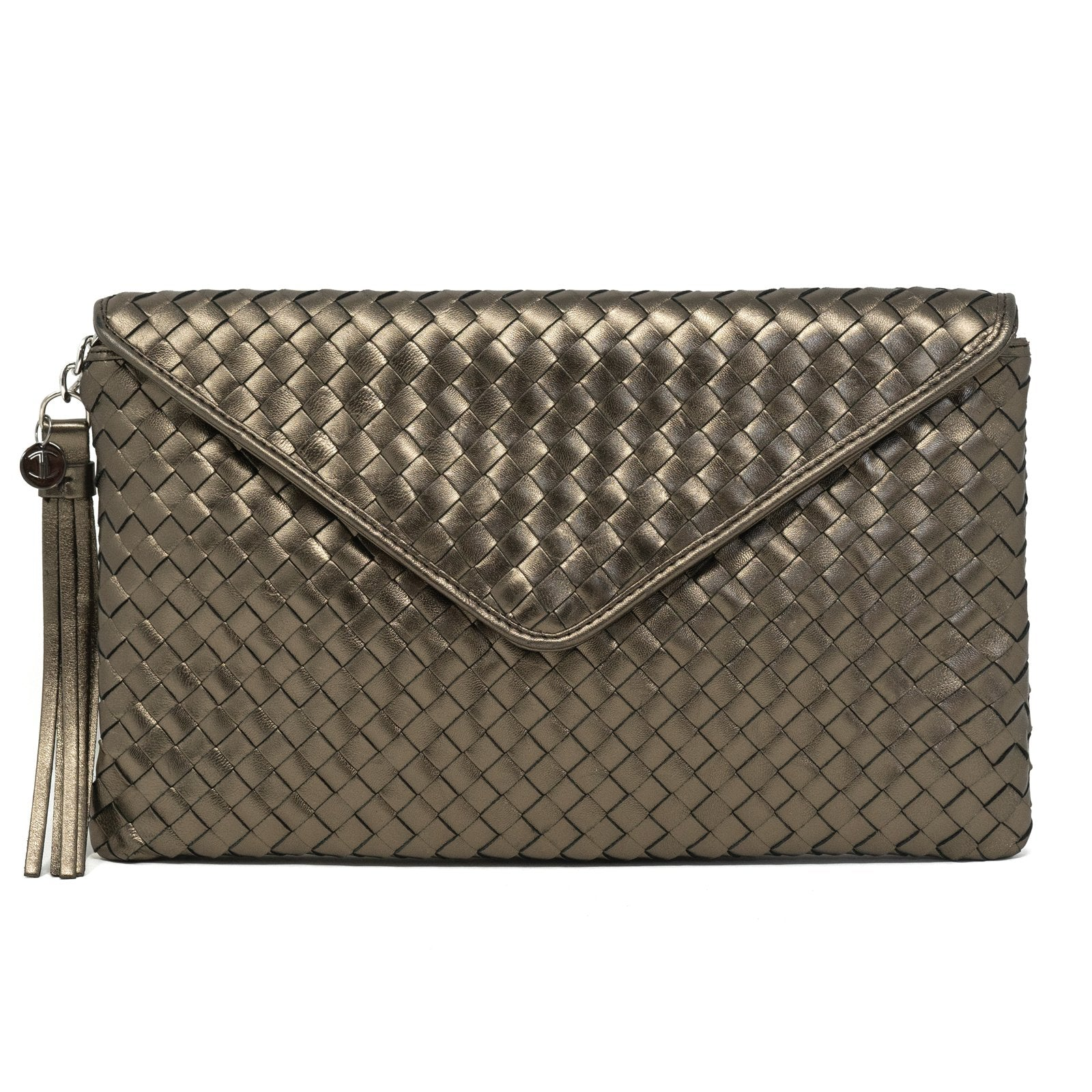 Women Intrecciato Leather Clutch Intrecciato Quadro Bronze - Jennifer Tattanelli