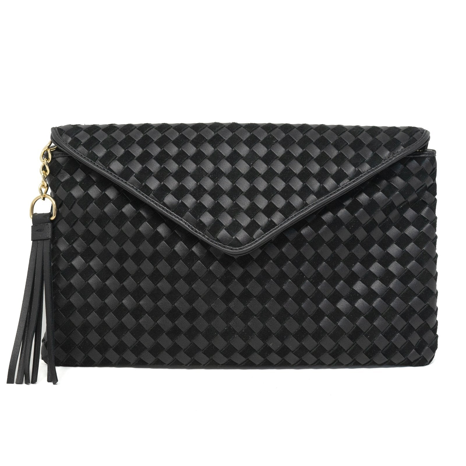 Women Intrecciato Leather Clutch Intrecciato Quadro Black - Jennifer Tattanelli