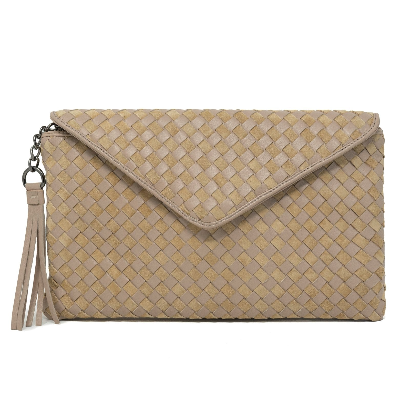 Women Intrecciato Leather Clutch Intrecciato Quadro Camel - Jennifer Tattanelli